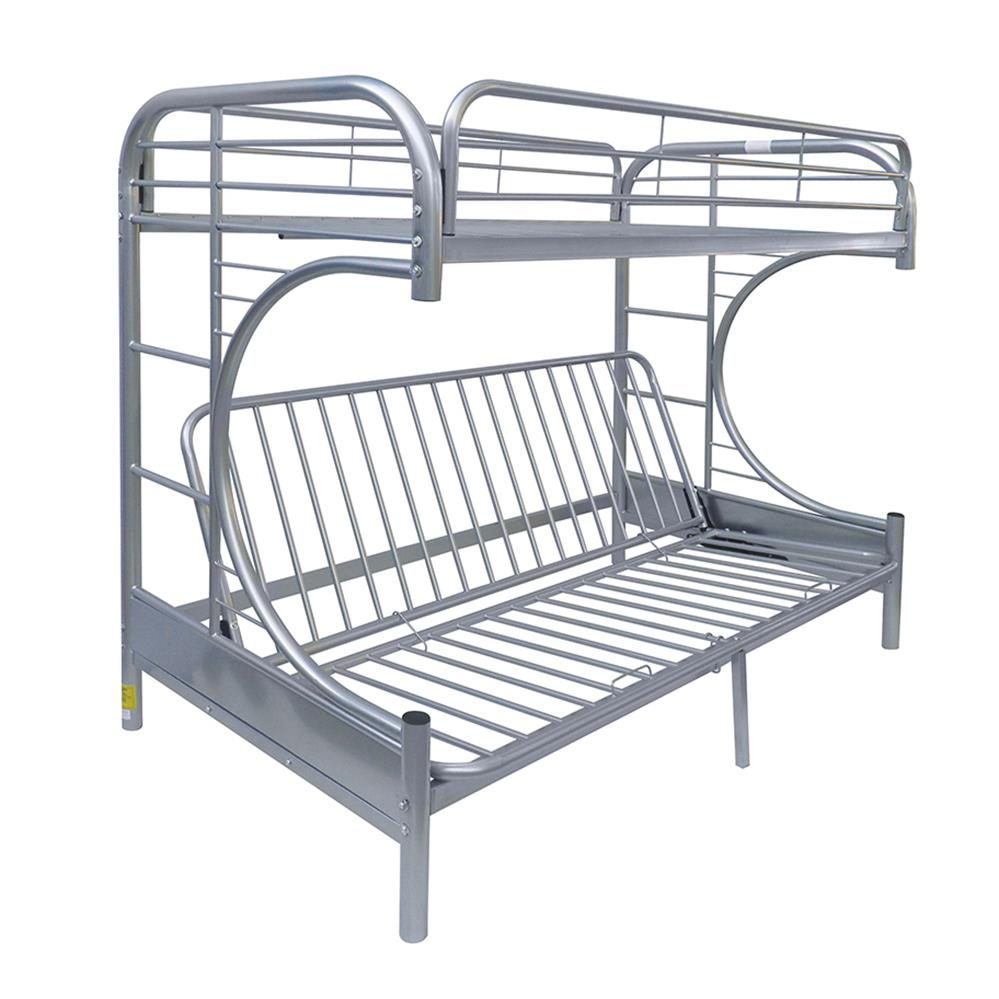 Silver Twin XL/Queen Futon Bunk Bed Angle