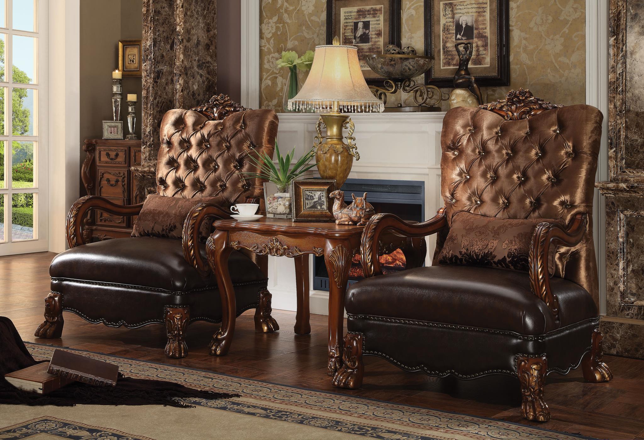 Golden Brown Velvet 2 Chairs