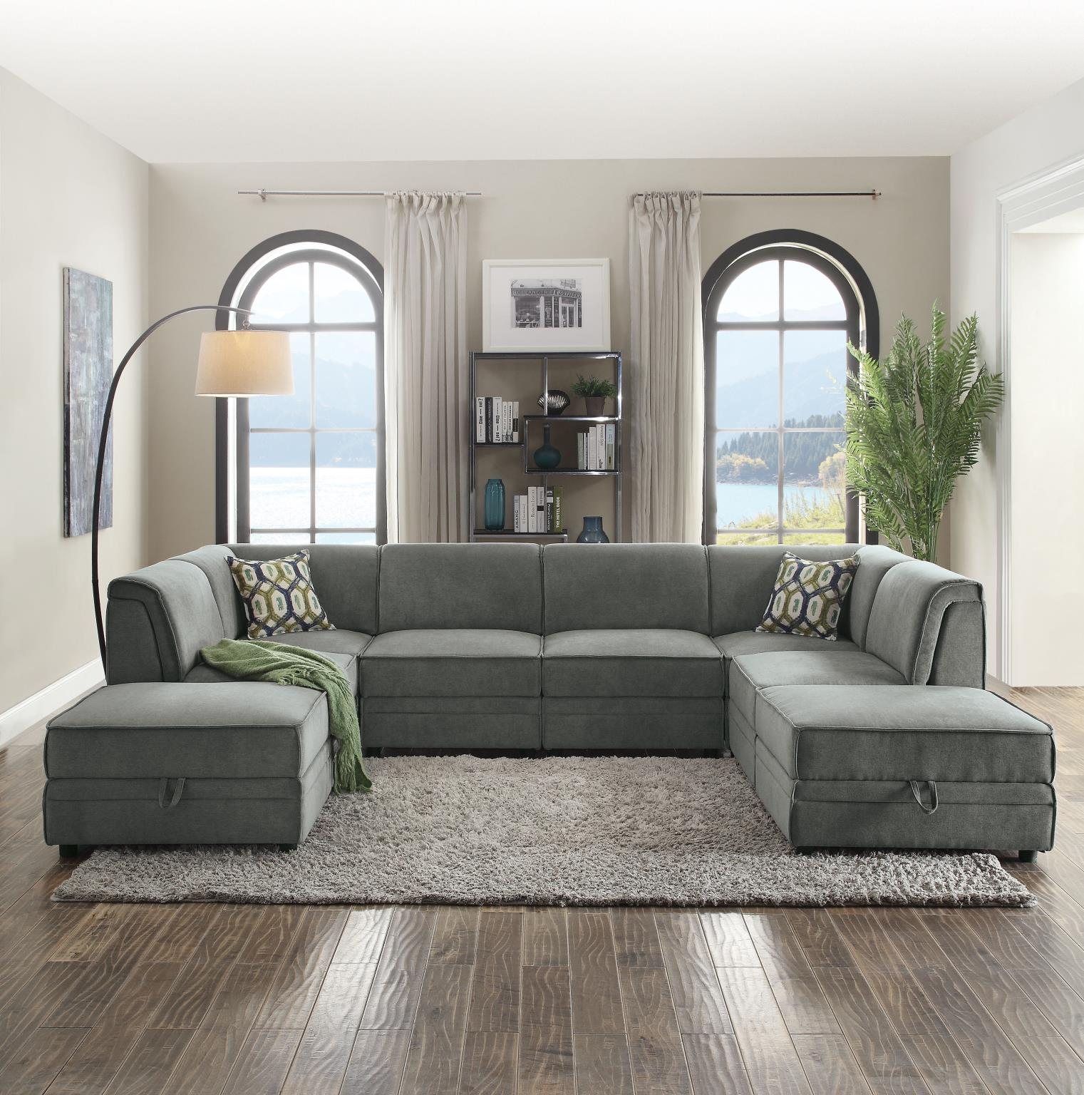 Another Configuration of Sectional Sofa w/ 4 Armless Chairs, 2 Corners, and 2 Ottomans