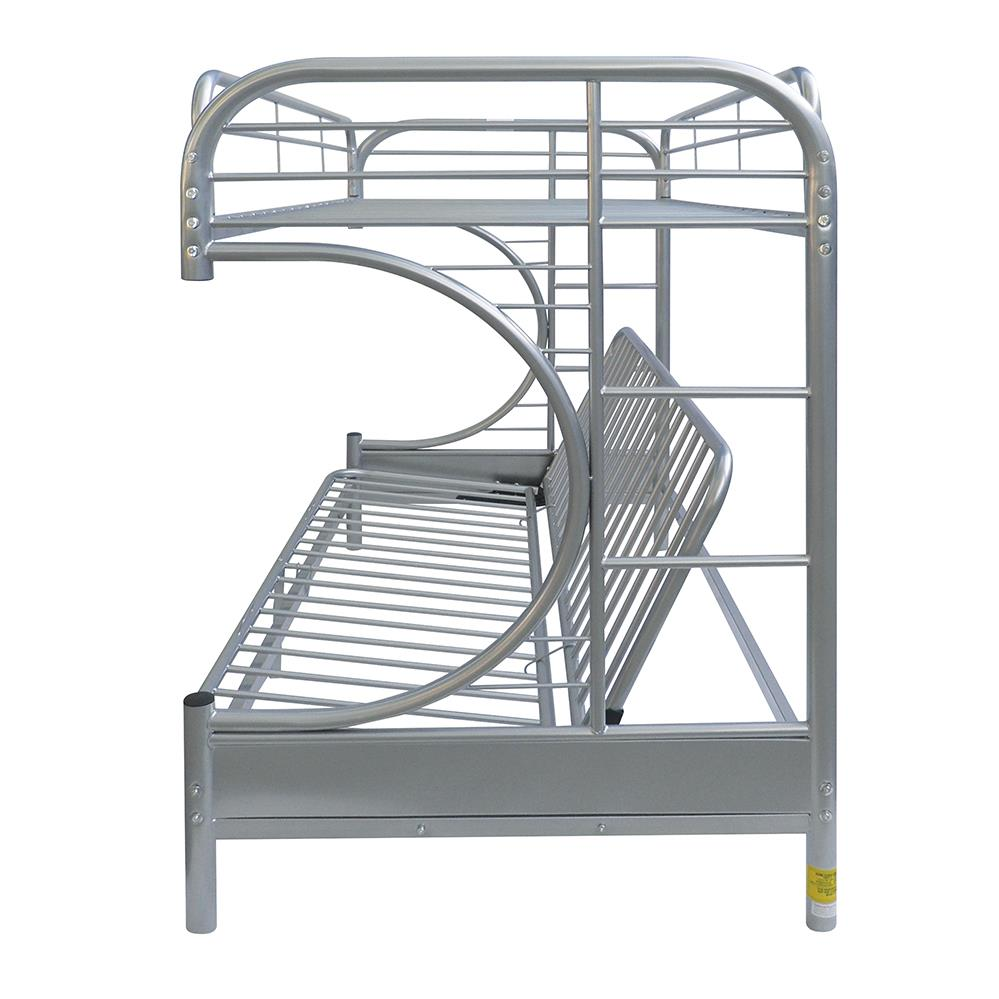 Silver Twin XL/Queen Futon Bunk Bed Side