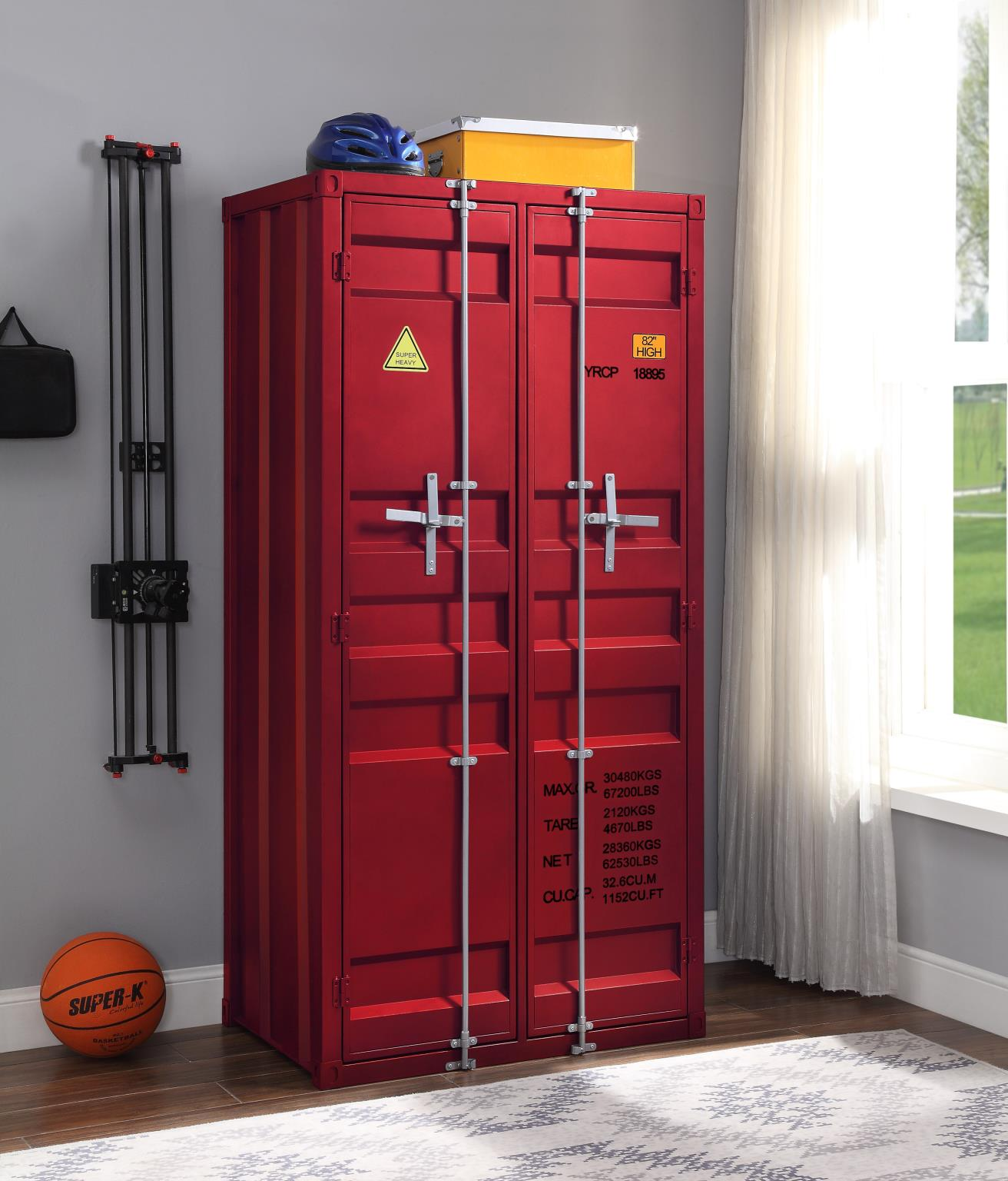 Red Double Door Wardrobe