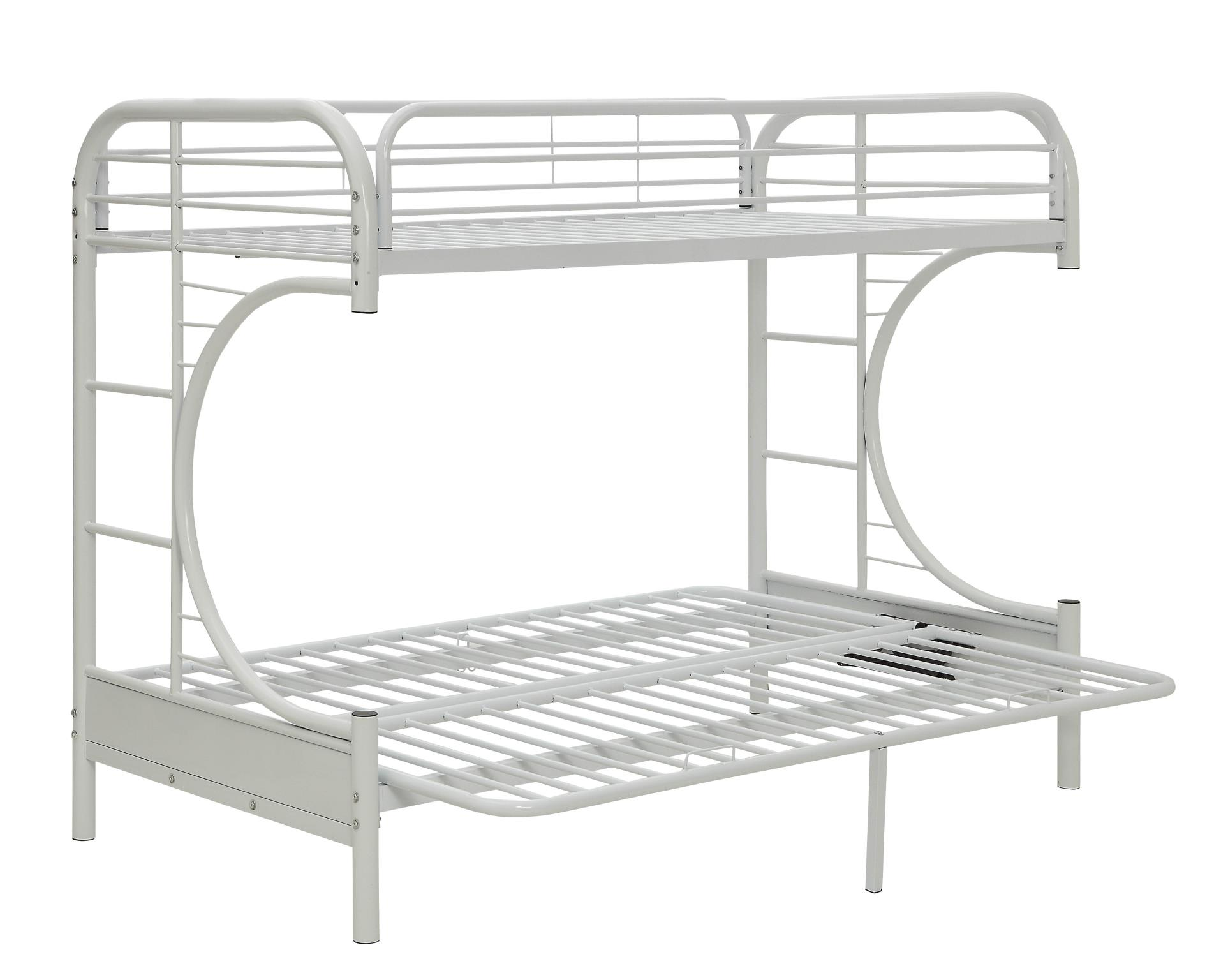 White Twin XL/Queen Futon Bunk Bed Angle w/ Futon as Bed