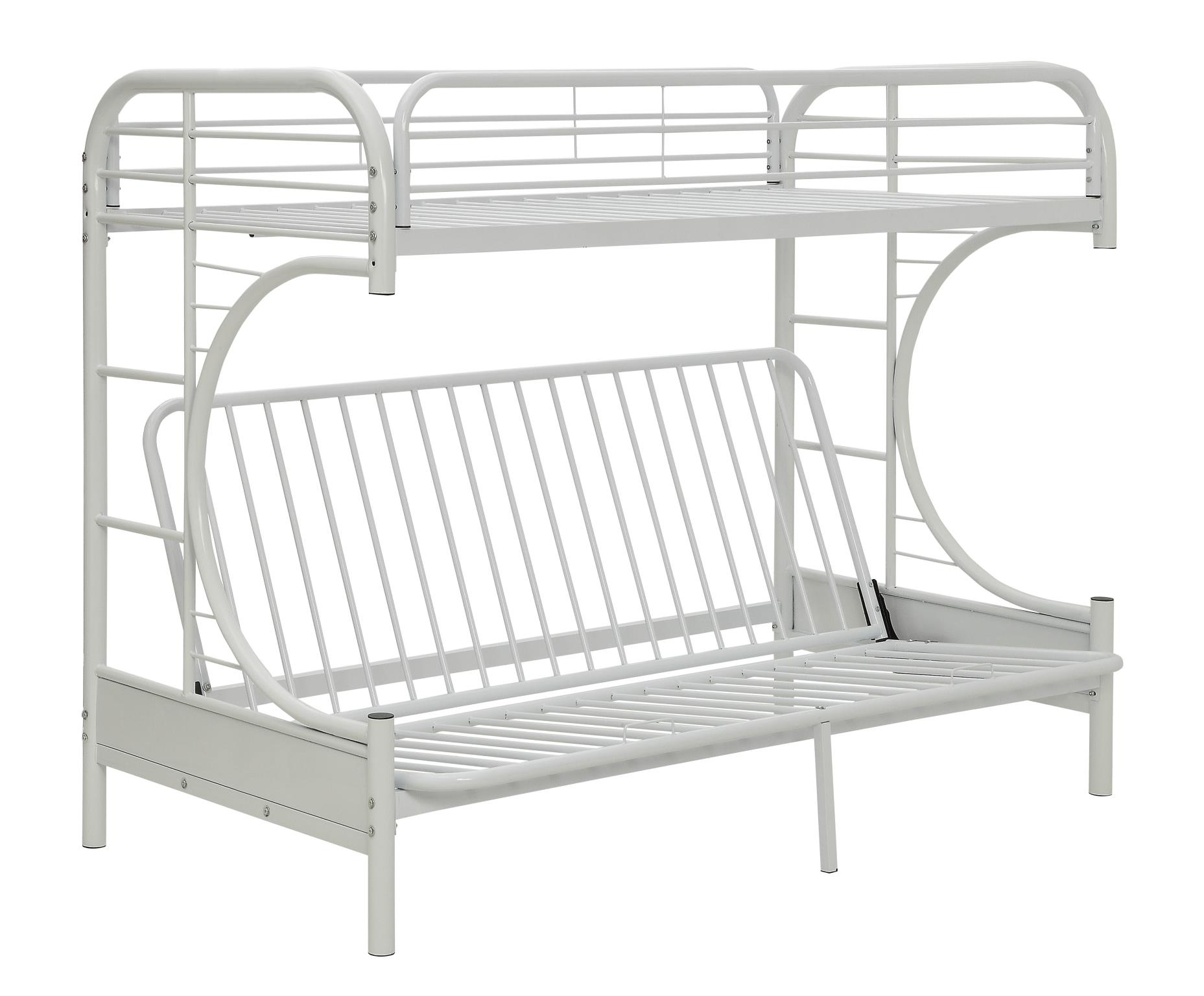 White Twin XL/Queen Futon Bunk Bed Angle