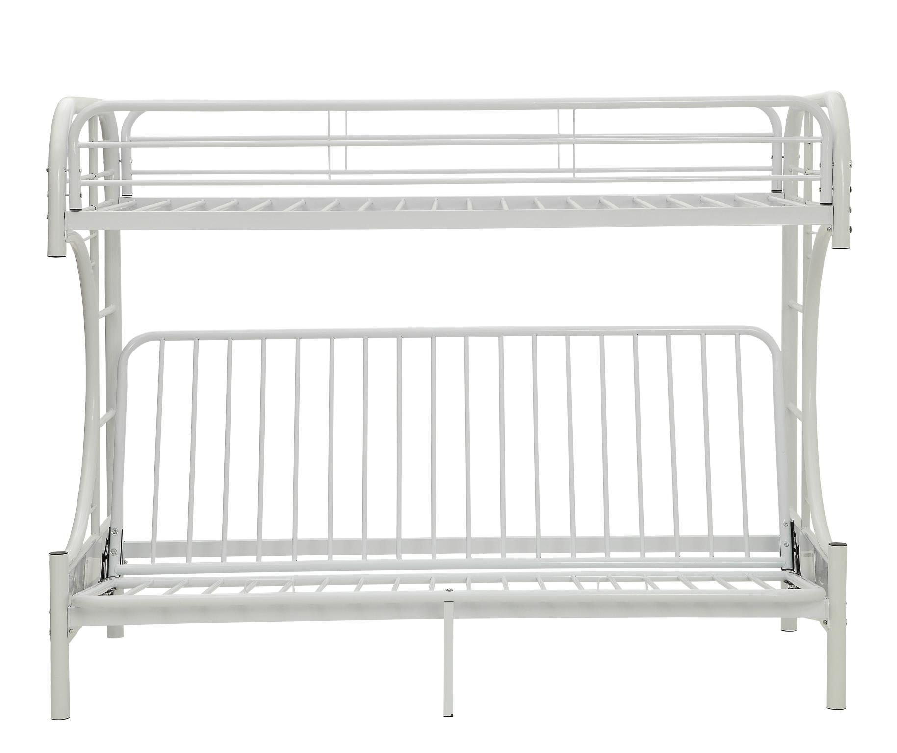 White Twin XL/Queen Futon Bunk Bed Front
