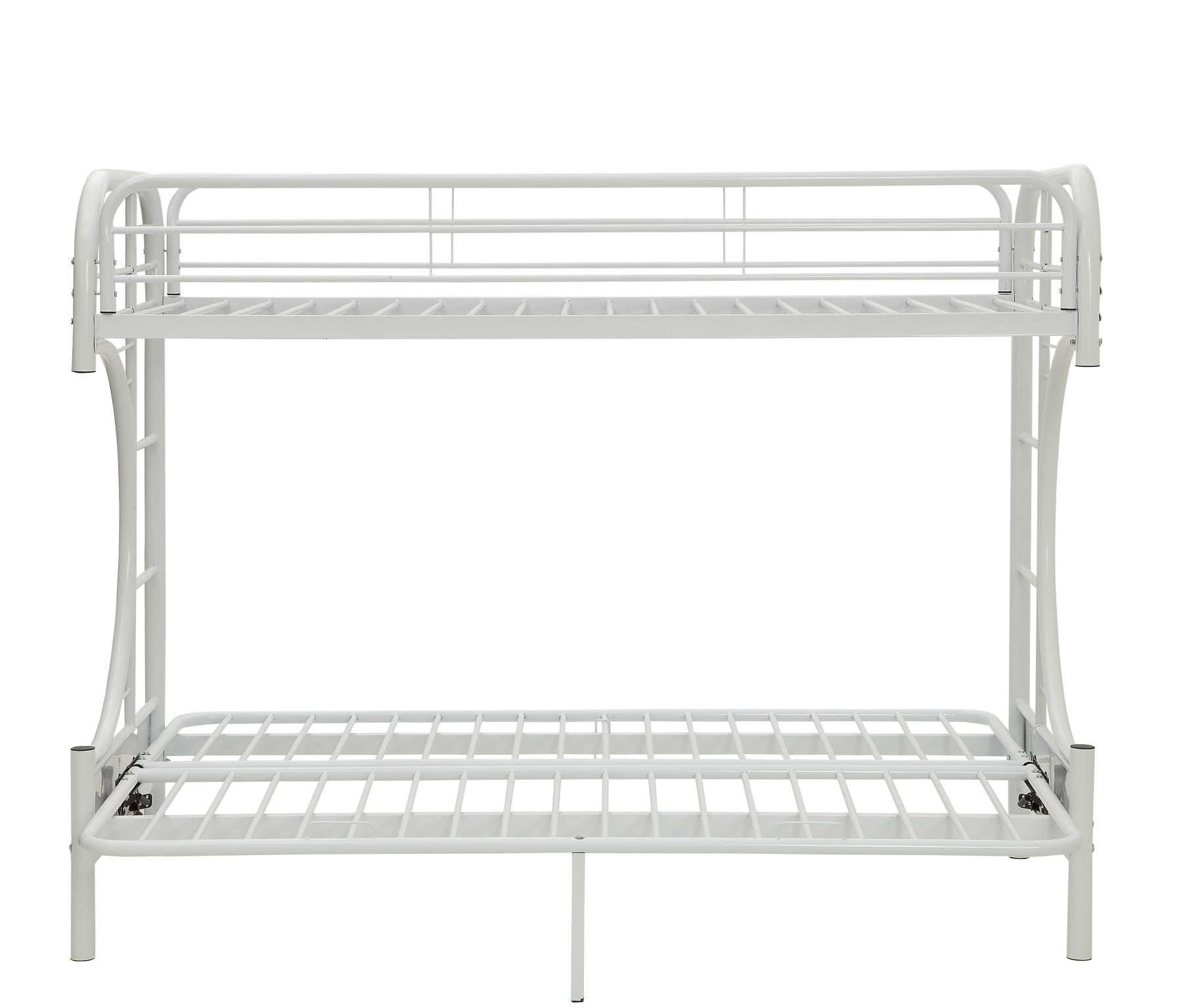 White Twin XL/Queen Futon Bunk Bed Front w/ Futon as Bed