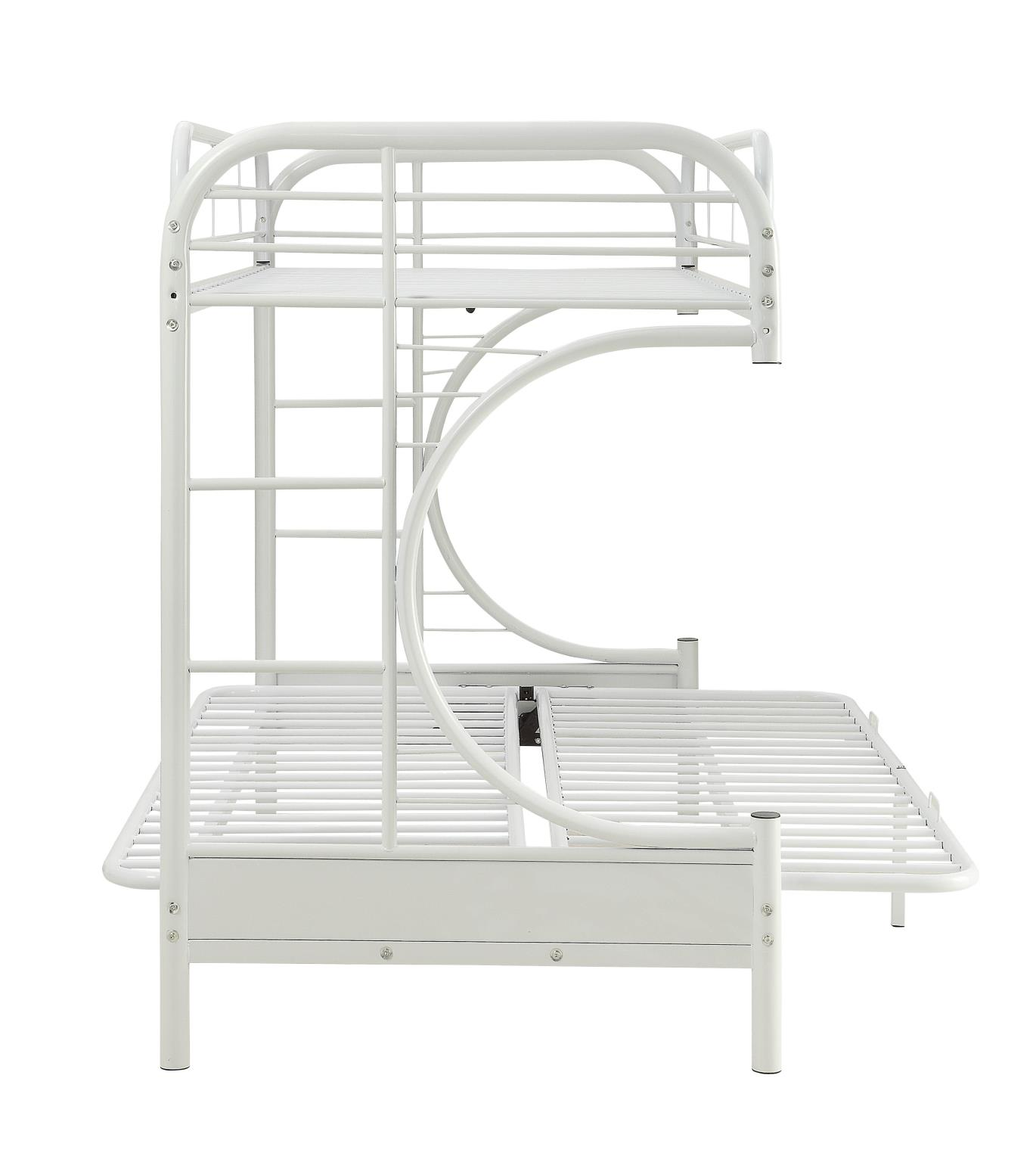 White Twin XL/Queen Futon Bunk Bed Side w/ Futon as Bed