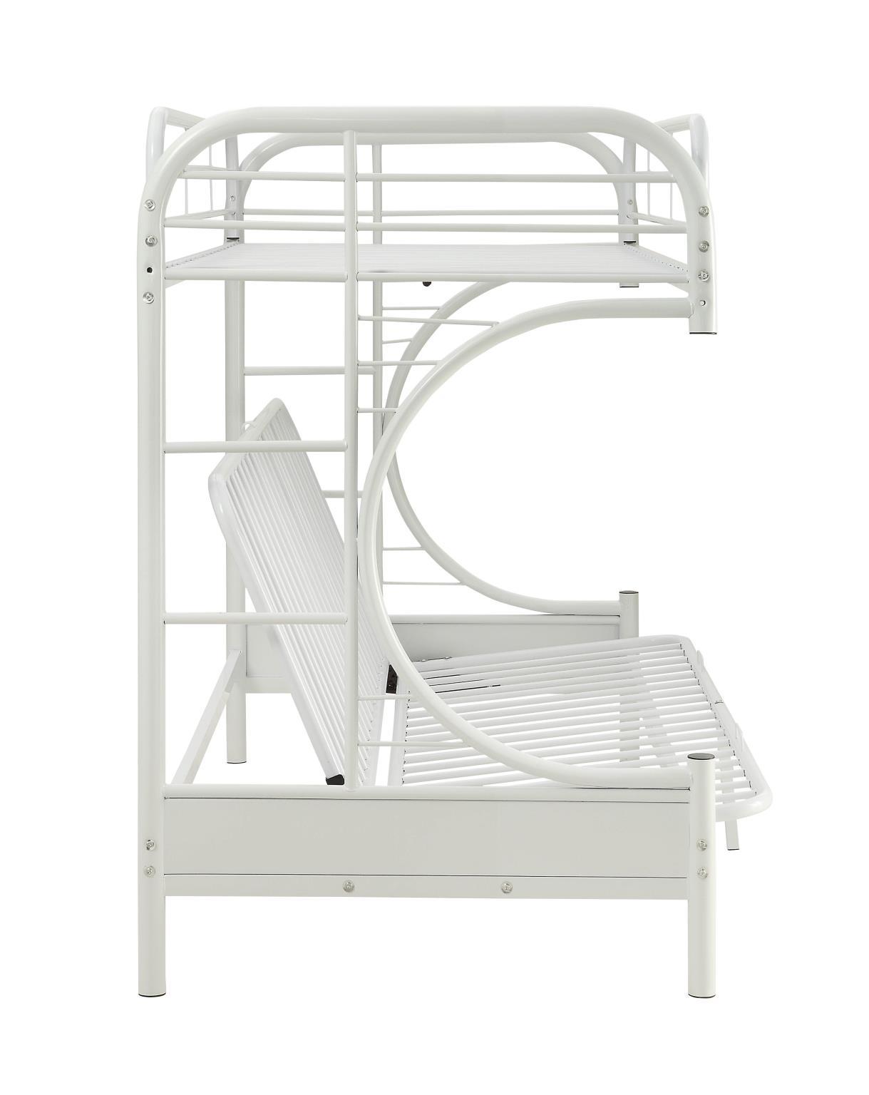 White Twin XL/Queen Futon Bunk Bed Side
