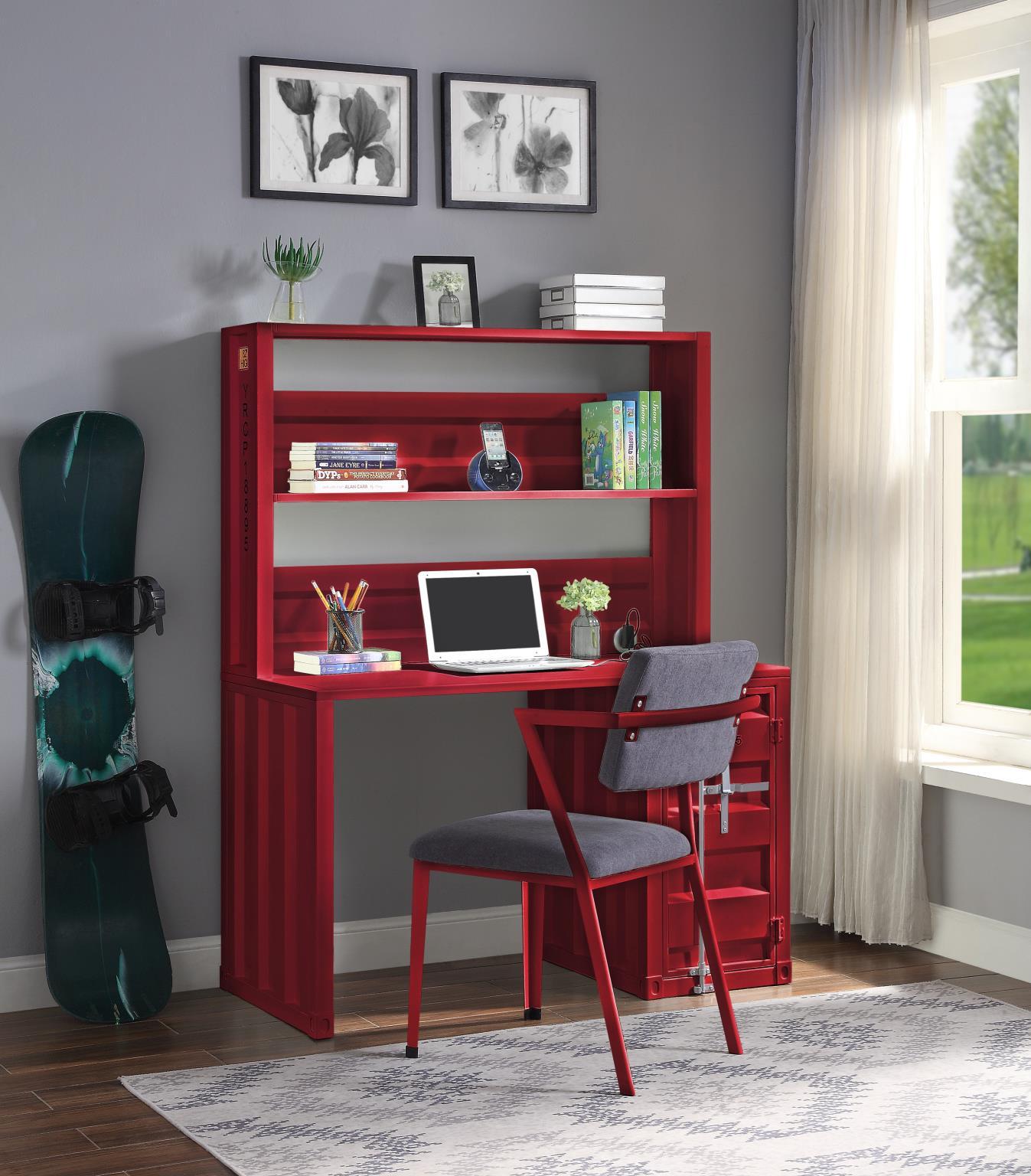 Red Complete Desk & Hutch