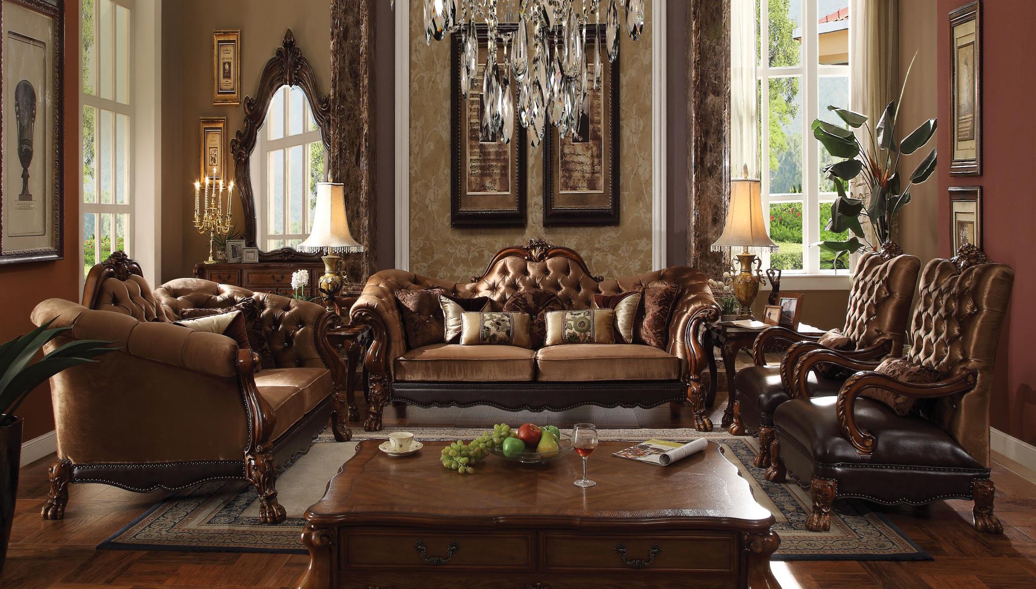 Golden Brown Velvet Complete Sofa Set
