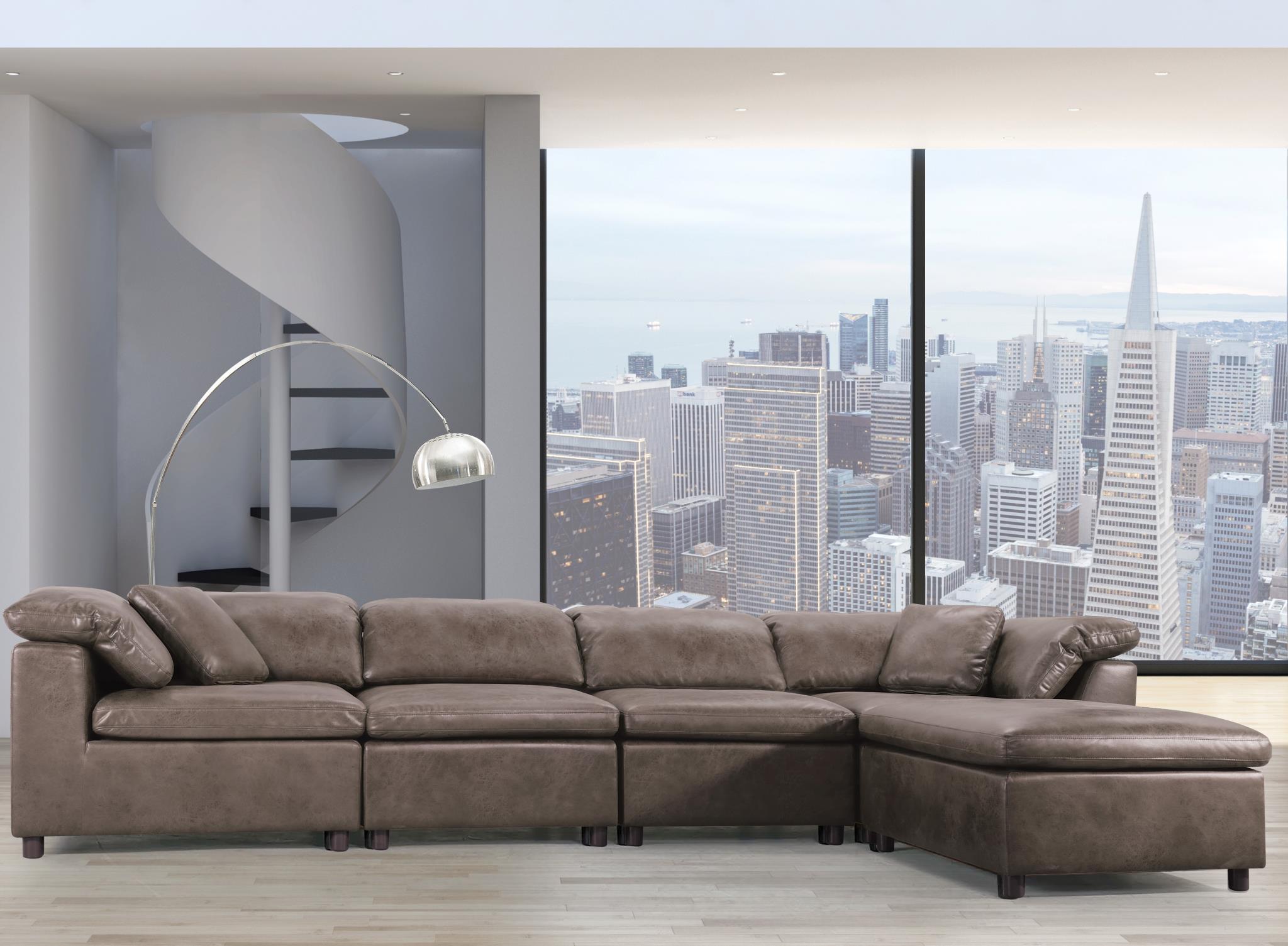2-Tone Brown Stone Sectional Sofa