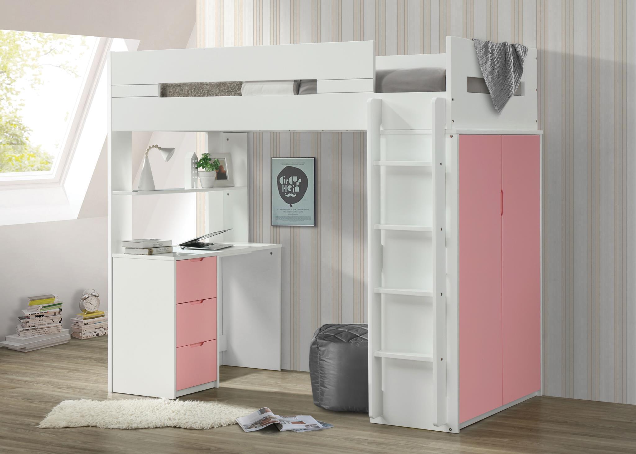 Pink & White Loft Bed