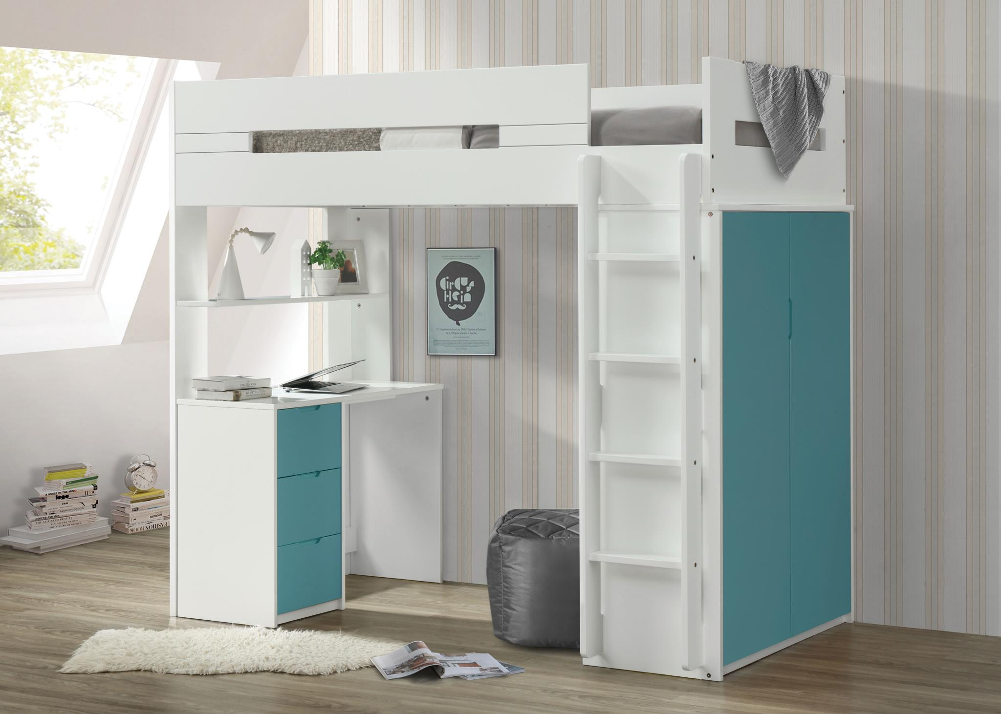 Teal & White Loft Bed