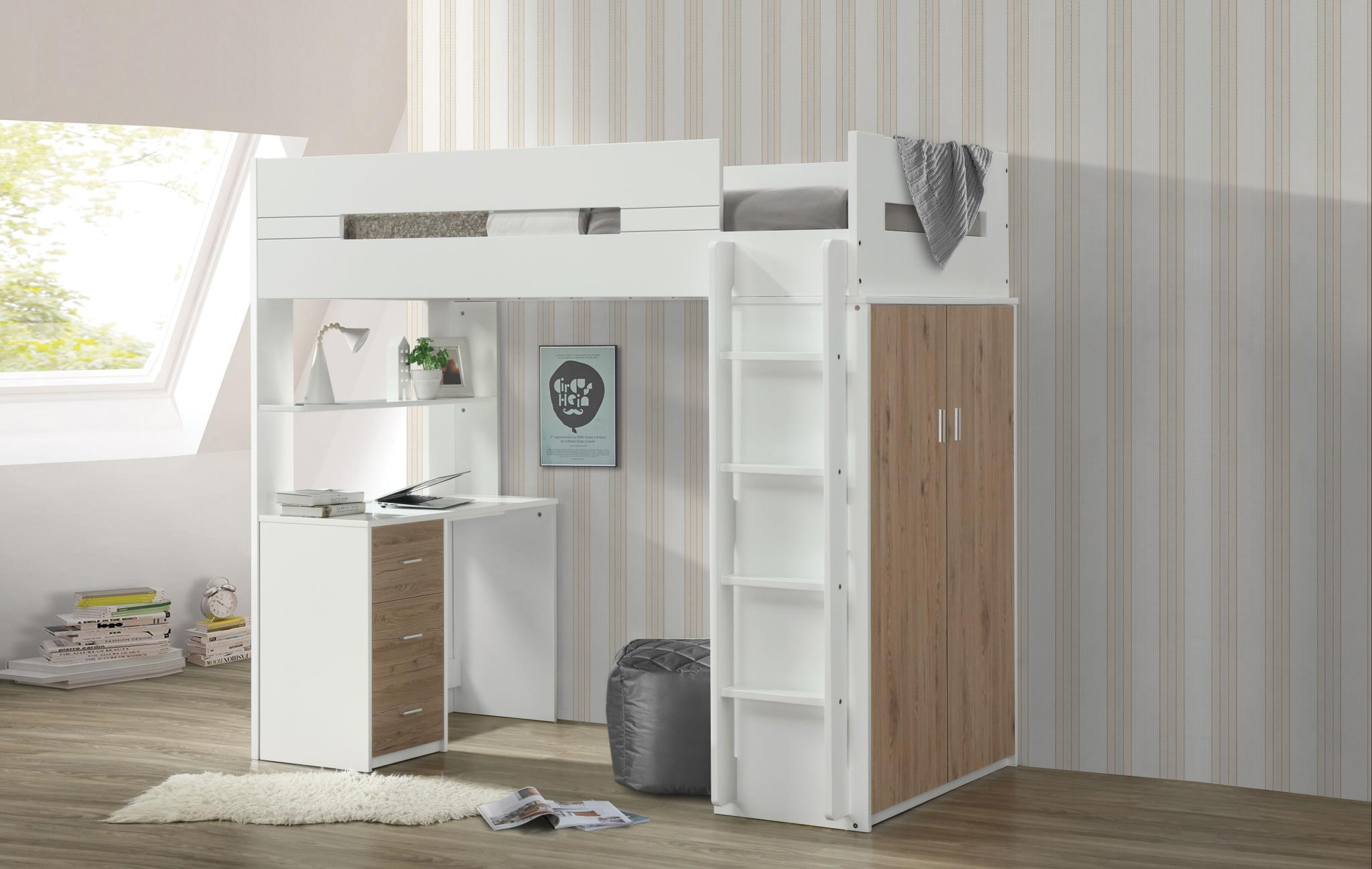 Oak & White Loft Bed