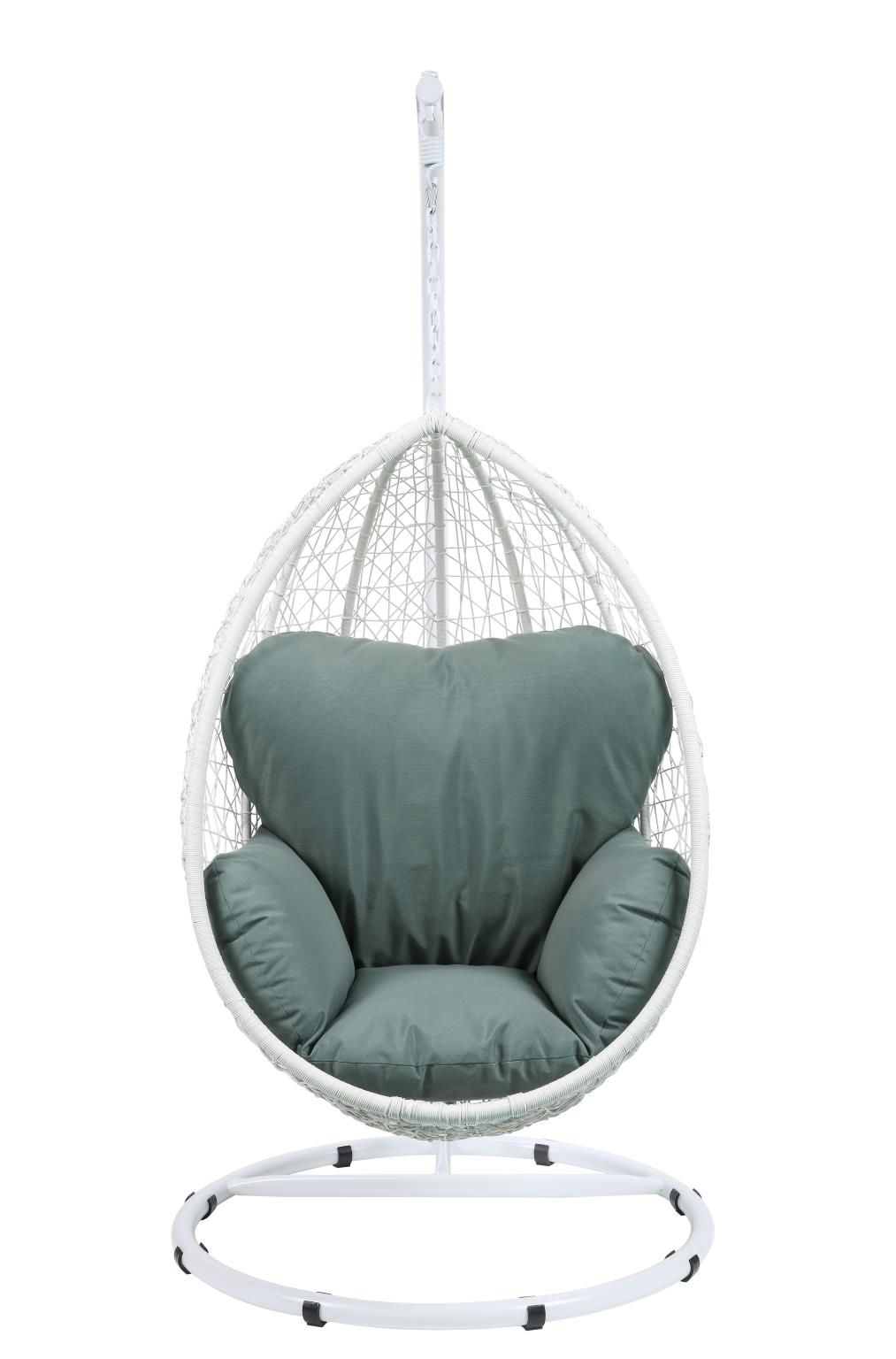 White Wicker Patio Swing Chair Front