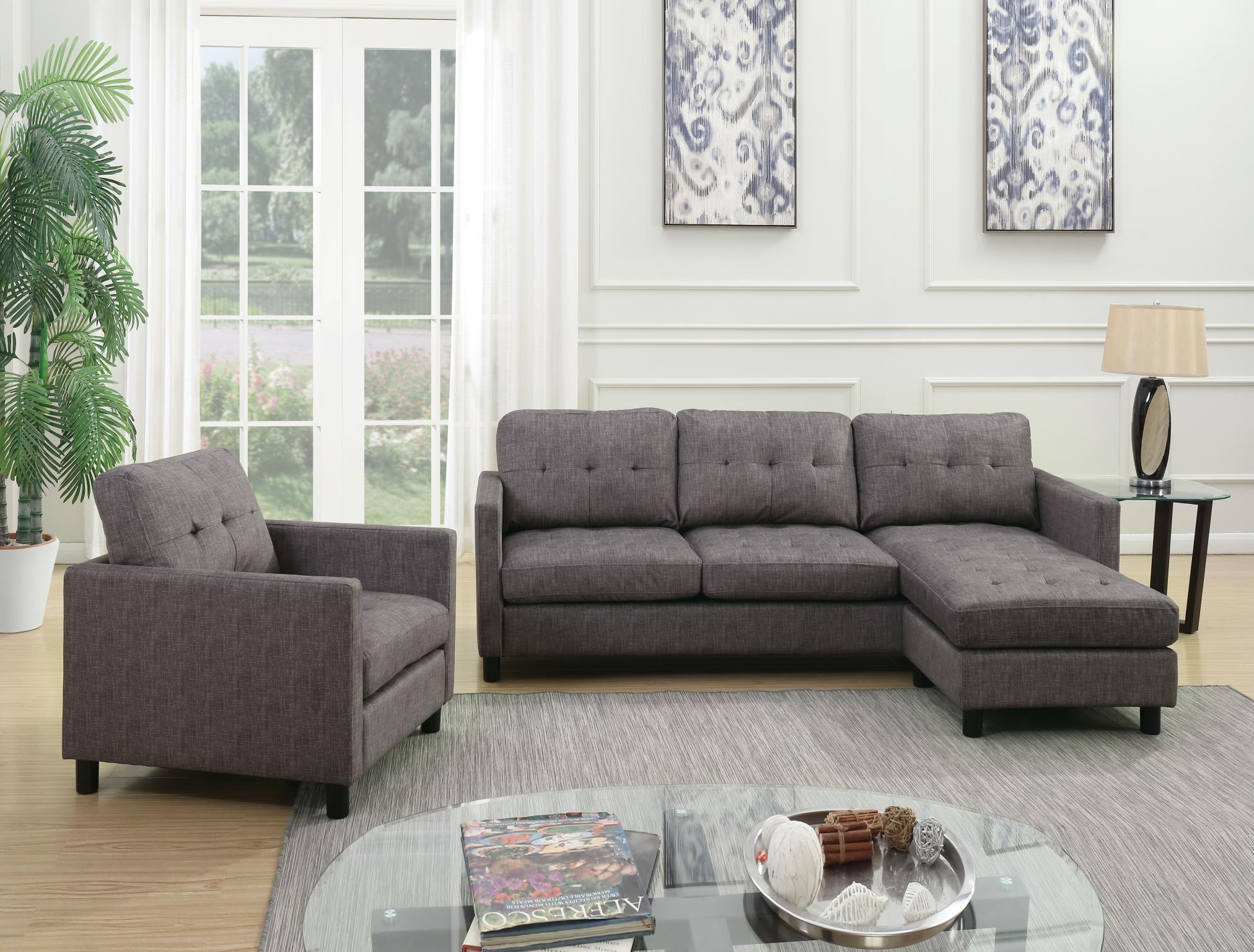 Convertible Sofa into Sectional w/ Right Facing Chaise and Chair