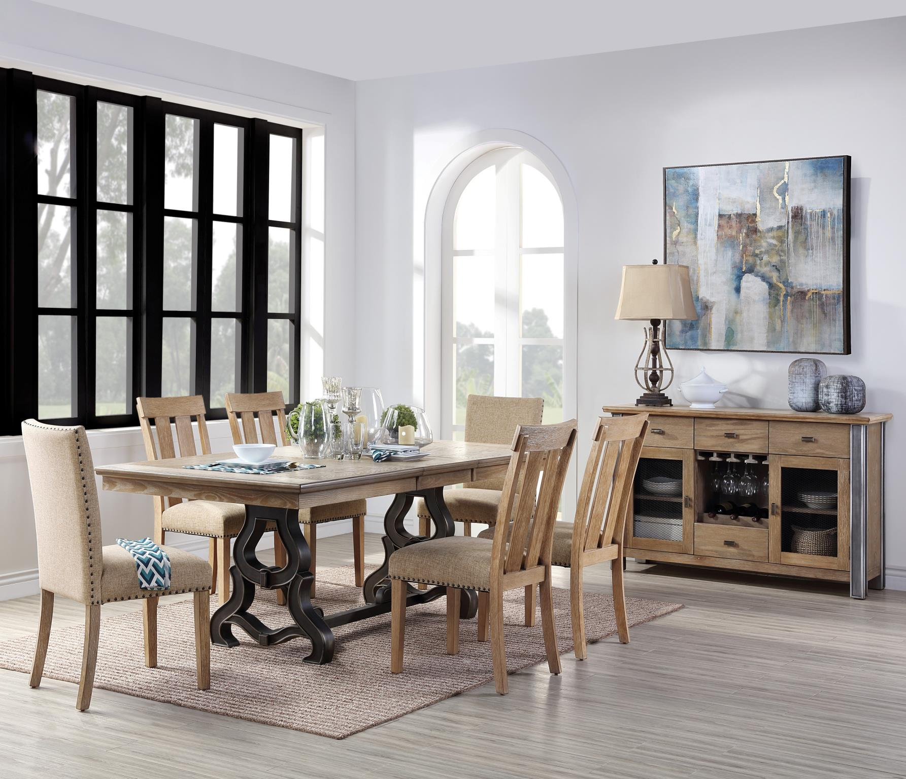 Complete Dining Table Set w/ Padded Back and Slatted Back Side Chairs