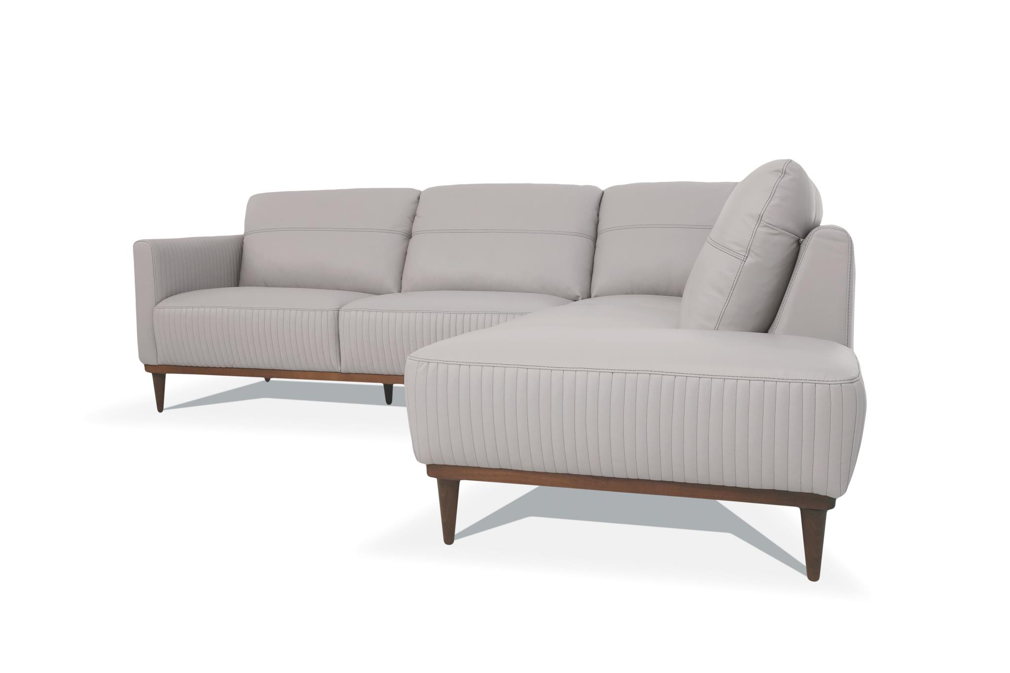 Pearl Gray Sectional Sofa w/ Right Facing Chaise Side