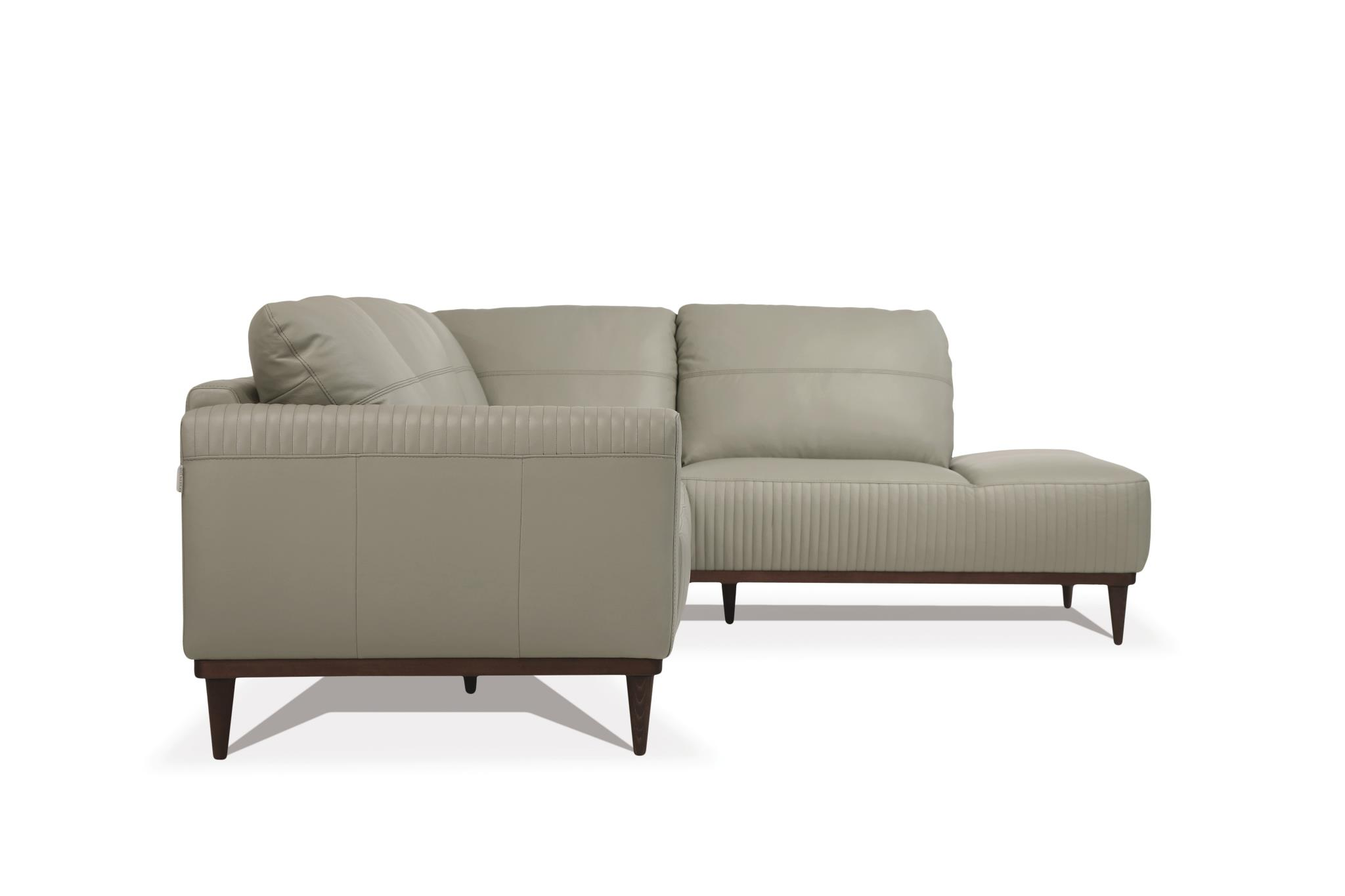 Airy Green Sectional Sofa w/ Right Facing Chaise Side