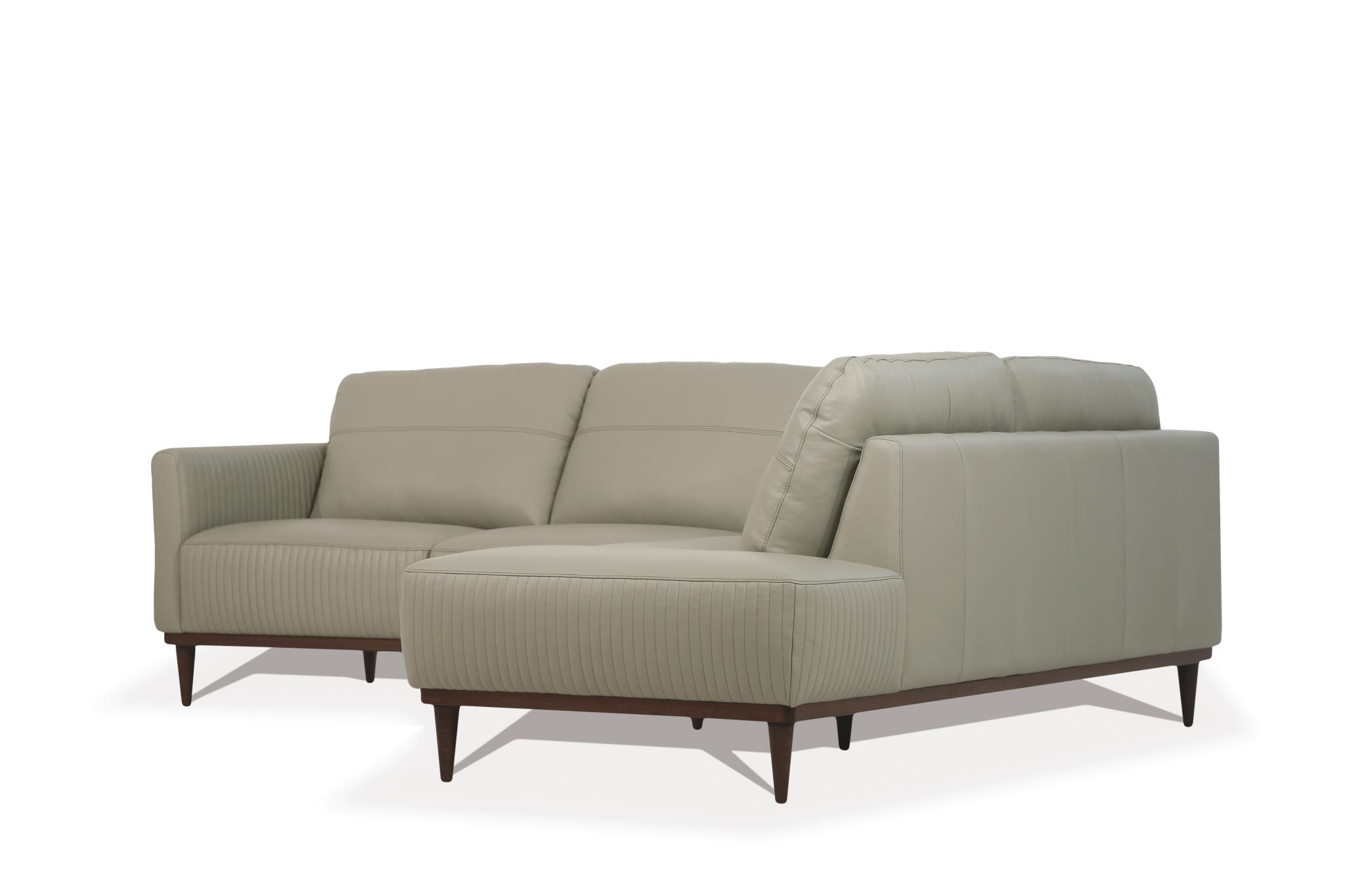 Airy Green Sectional Sofa w/ Right Facing Chaise Side Angle
