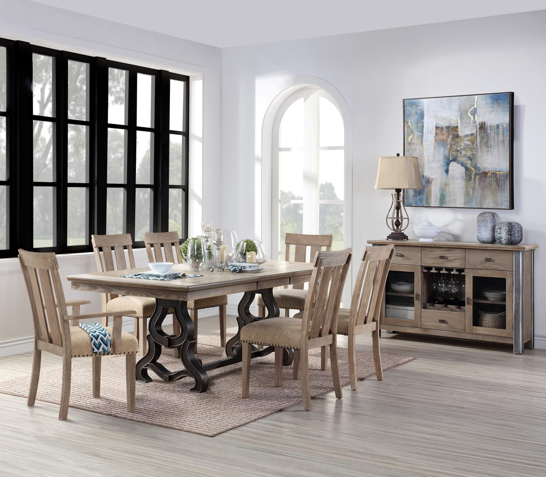 Complete Dining Table Set w/ Slatted Back Side and Arm Chairs