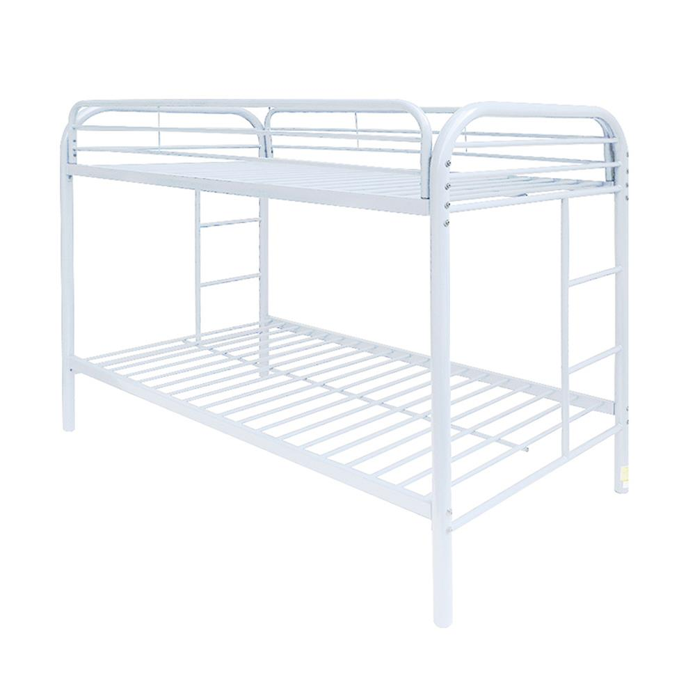 White Twin/Twin Bunk Bed Angle