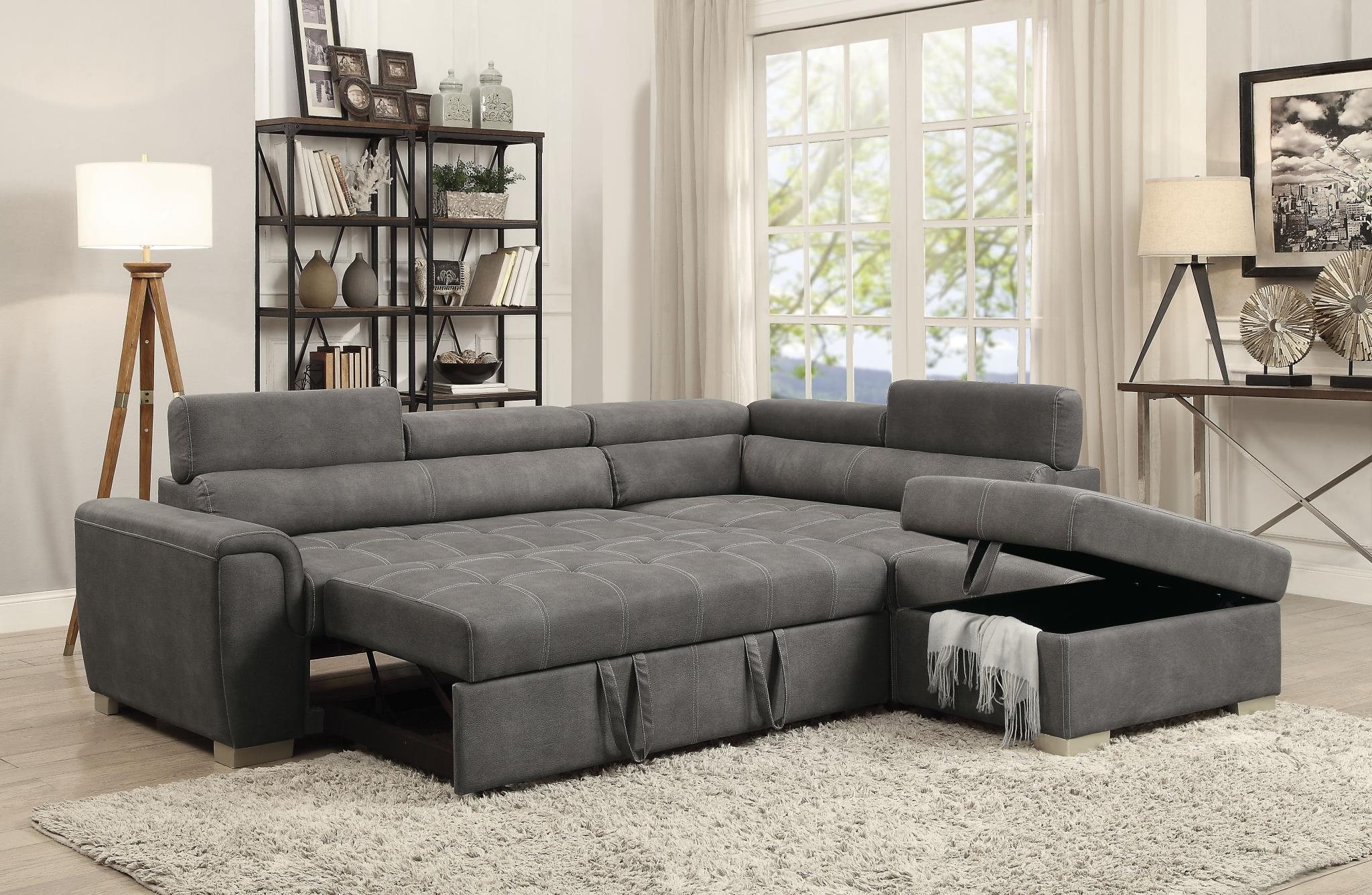 Thelma Upholstered Transitional Sectional Sleeper Sofa ...