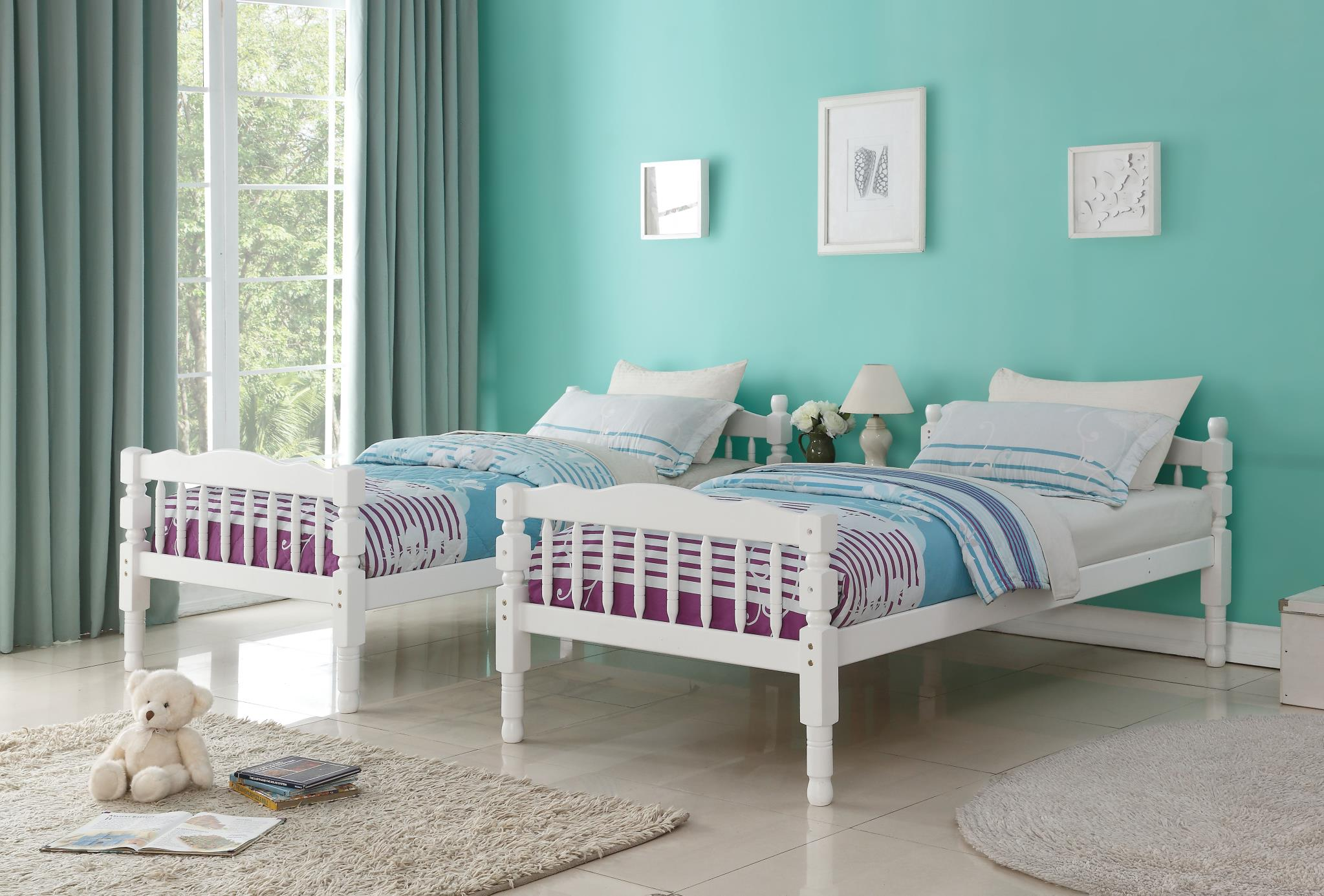 White Separate Twin Beds