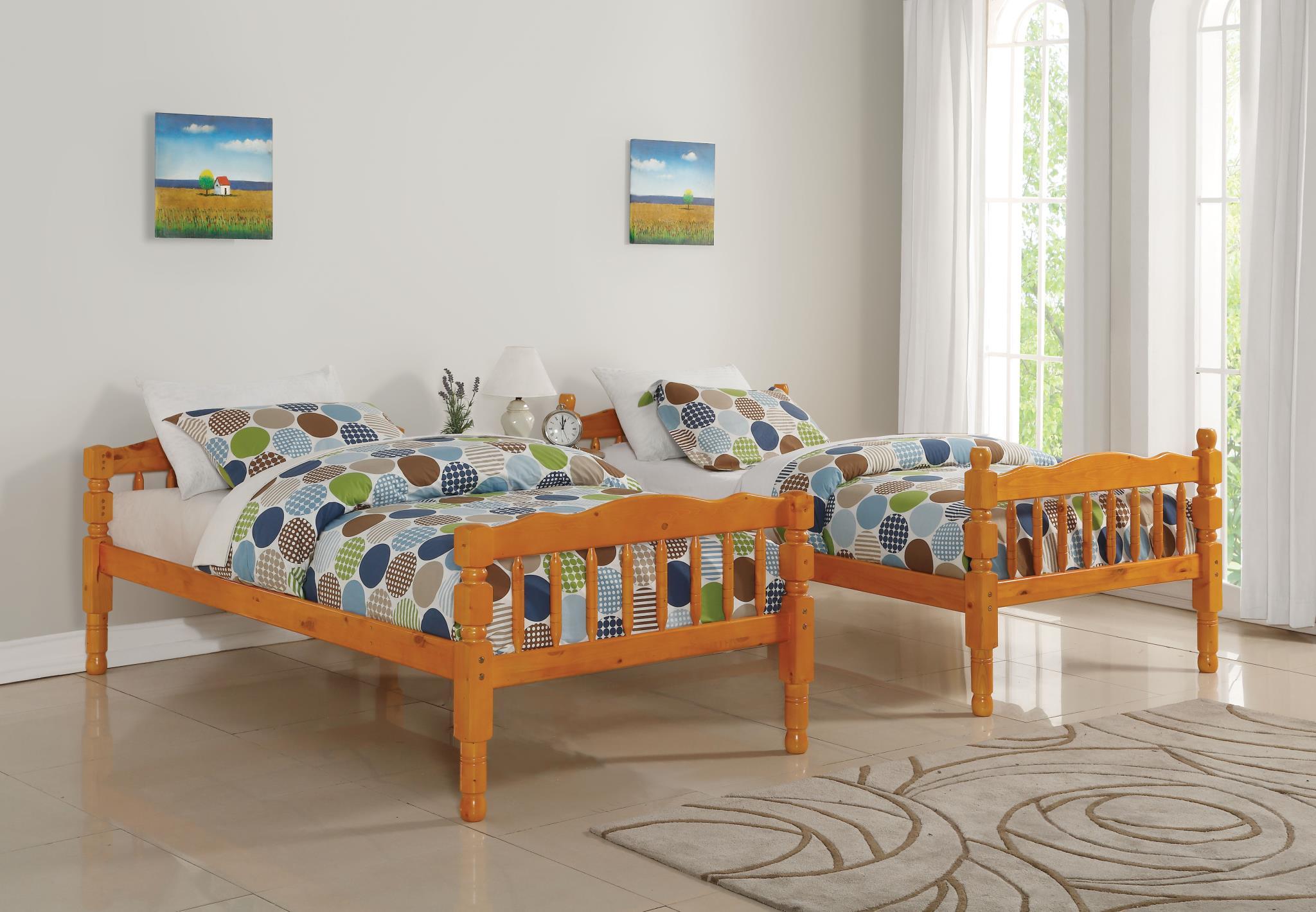 Honey Oak Separate Twin Beds