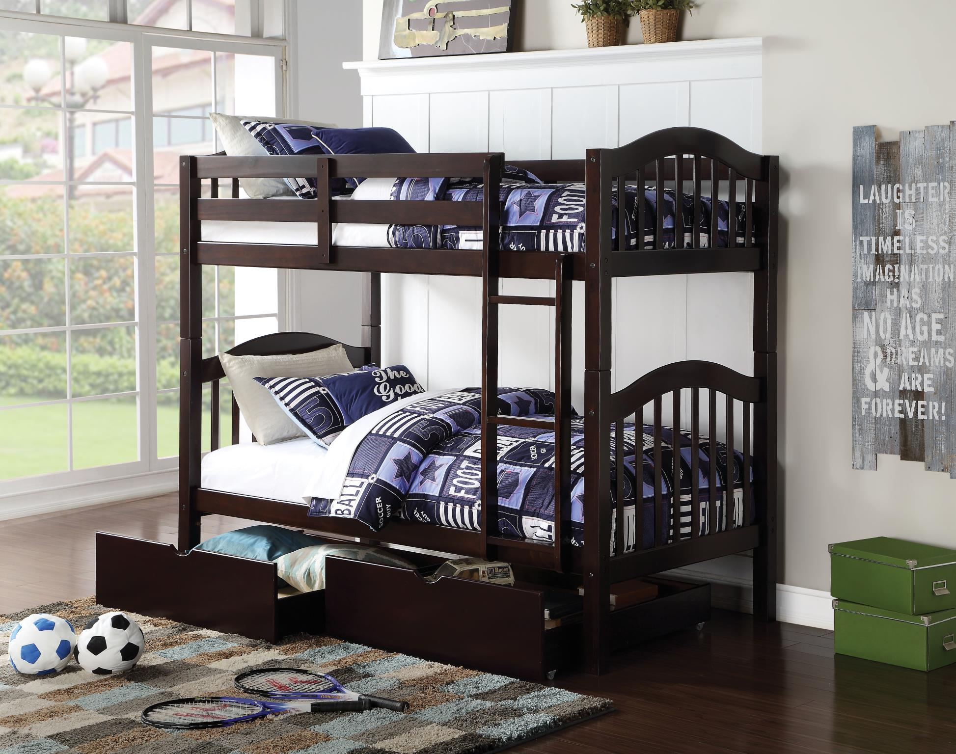 Espresso Twin/Twin Bunk Bed w/ Drawers