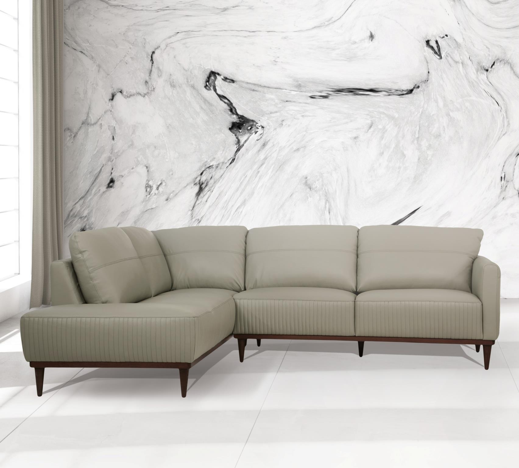 Airy Green Sectional Sofa w/ Left Facing Chaise