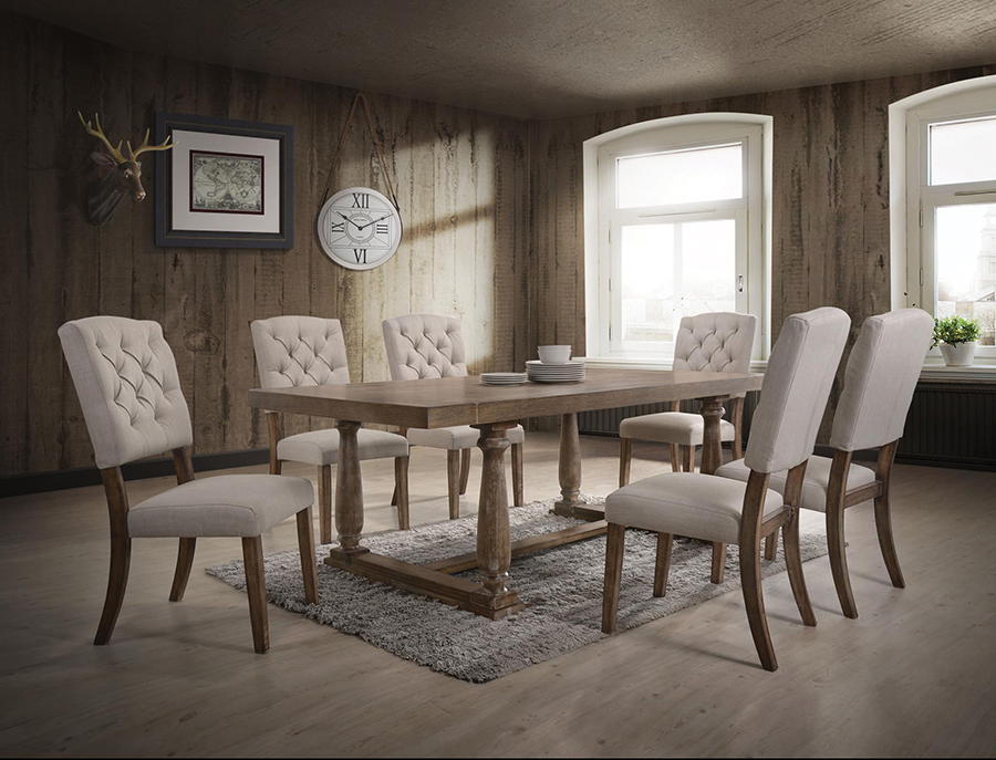 Complete Weathered Oak Dining Table Set