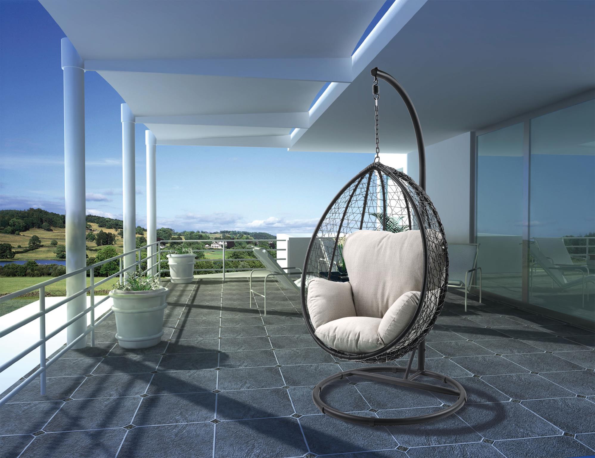 Black Wicker Patio Swing Chair