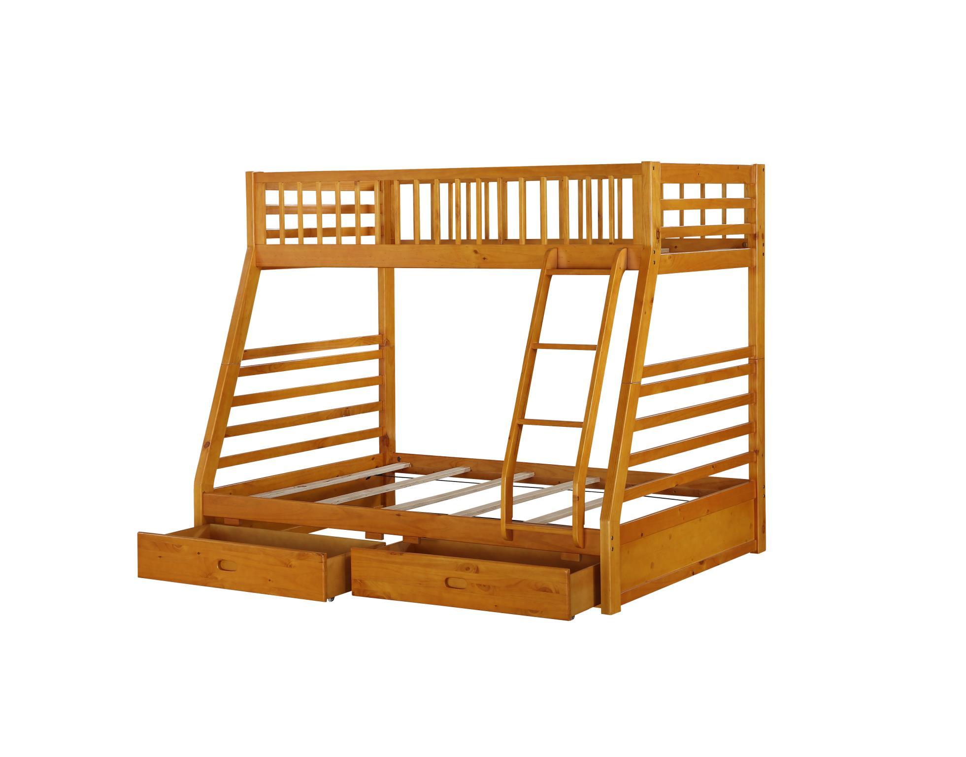 Honey Oak Twin/Full Bunk Bed Frame