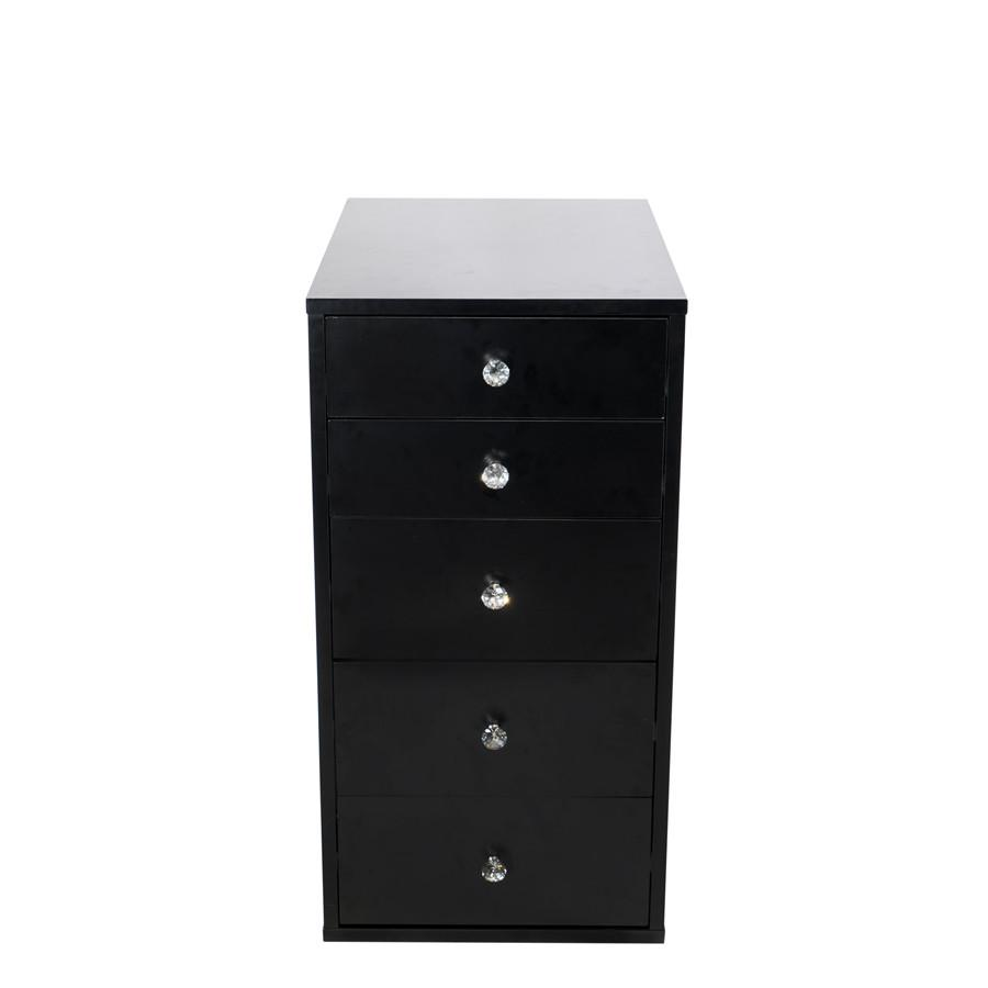 Black 5-Drawer Makeup Vanity Storage Unit