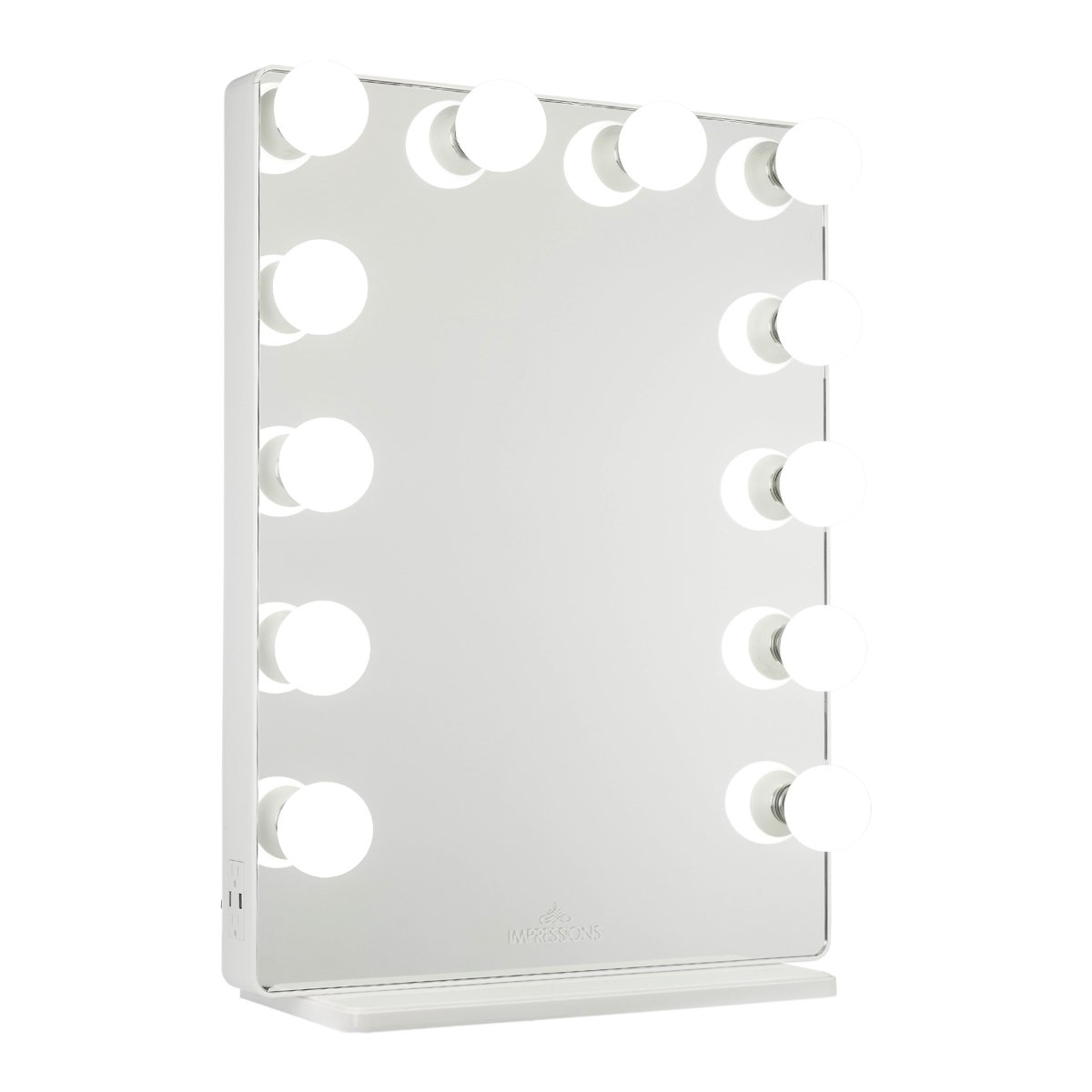 White Vanity Mirror w/ Frosted LED Light Bulbs