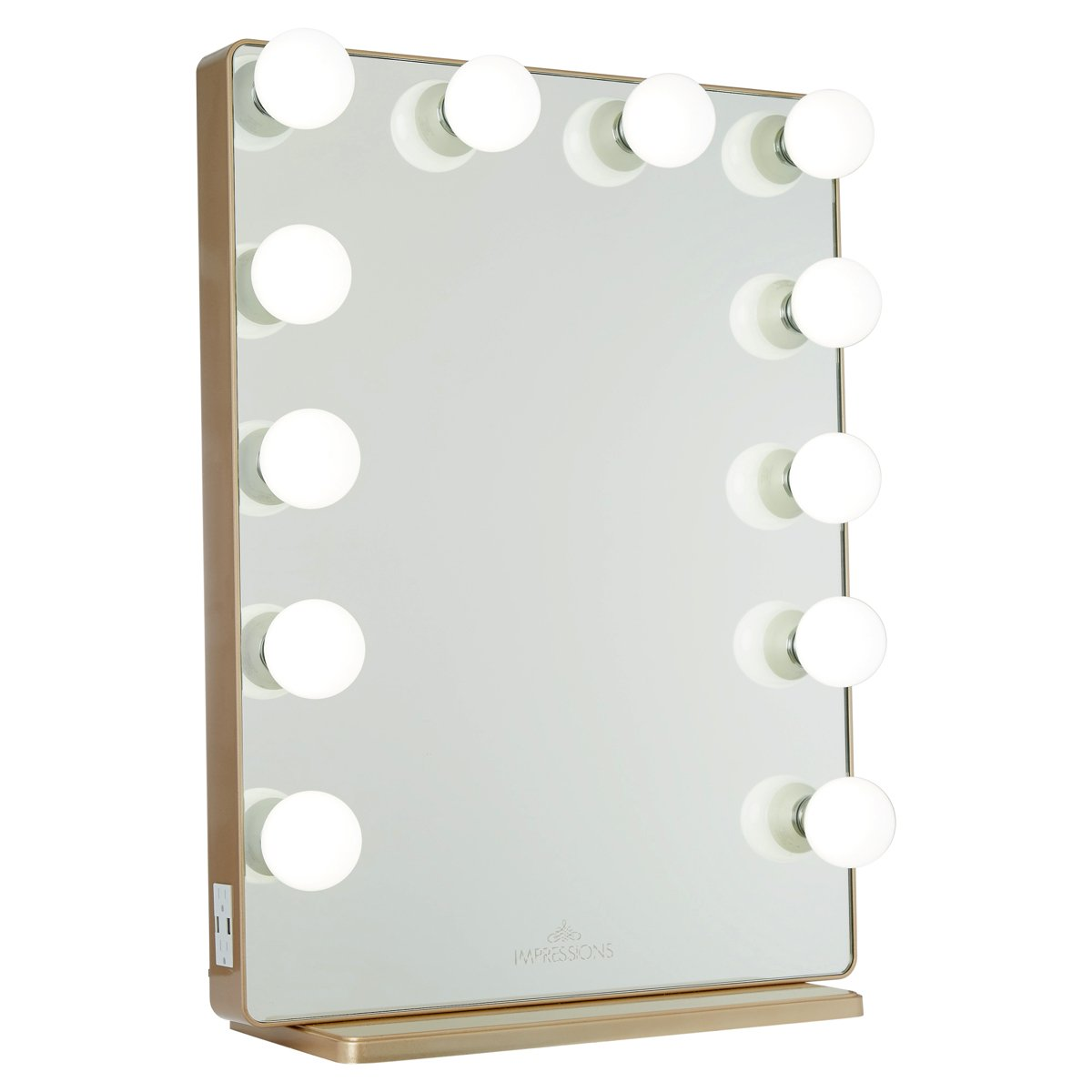 Champagne Gold Vanity Mirror w/ Frosted LED Light Bulbs