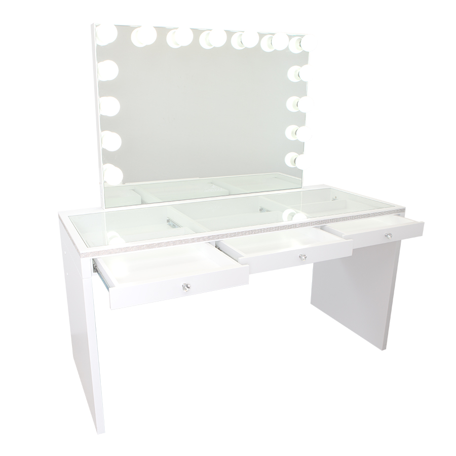 SlayStation® Pro Premium Crystal Table in White