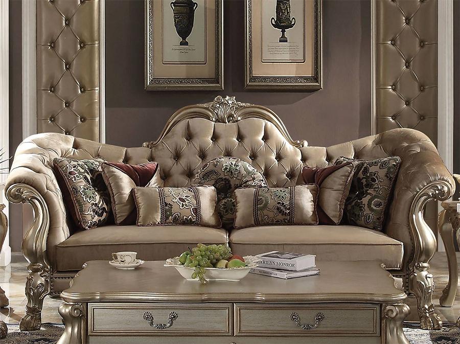 Bone Velvet Sofa w/ 7 Pillows