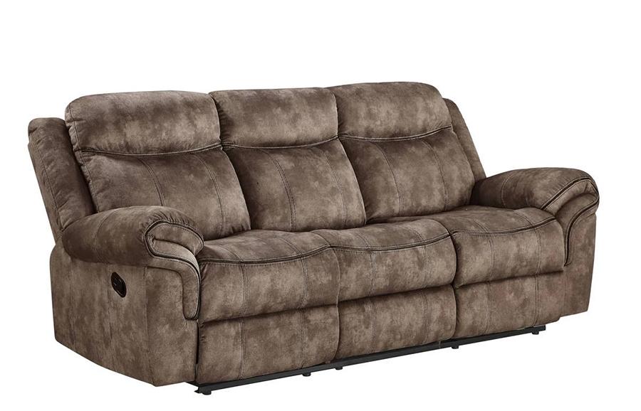 Two Tone Chocolate Reclining Sofa Angle