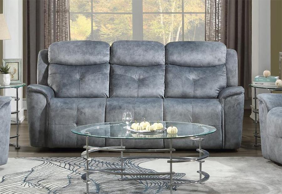 Silver Gray Fabric Reclining Sofa