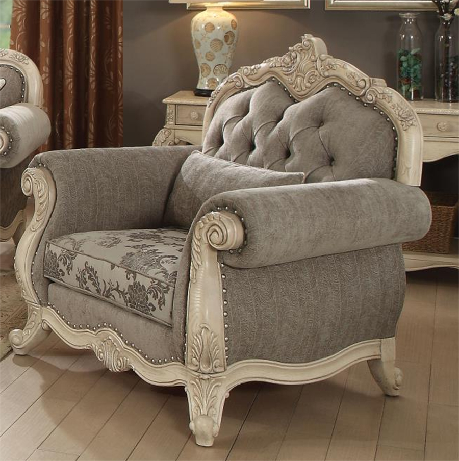 Gray & Antique White Chair