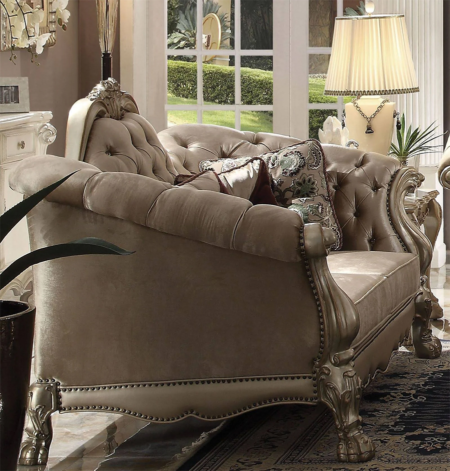 Bone Velvet Loveseat w/ 5 Pillows
