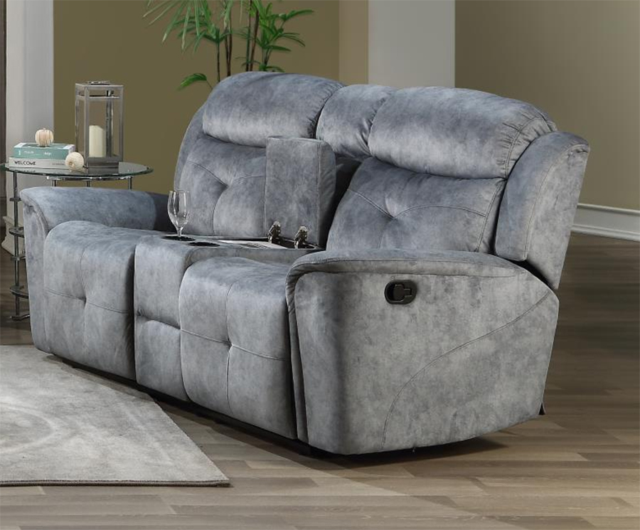 Silver Gray Fabric Reclining Loveseat