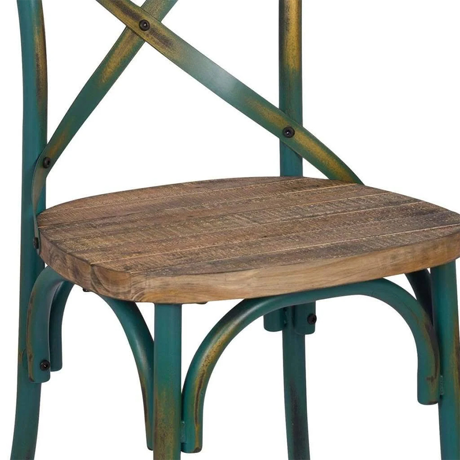 Antique Turquoise Side Chair Wooden Seat