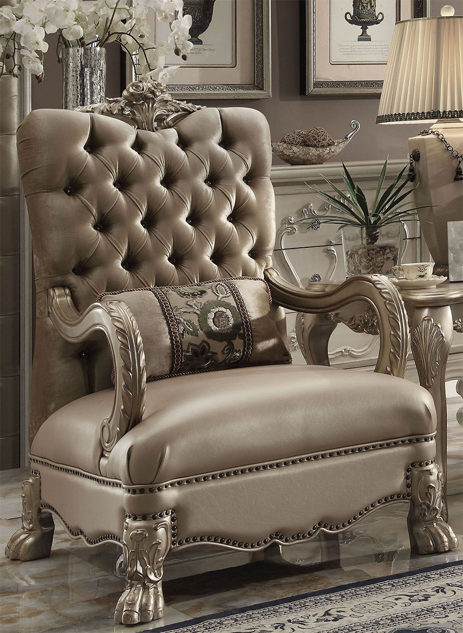 Bone Velvet Chair w/ 1 Pillow