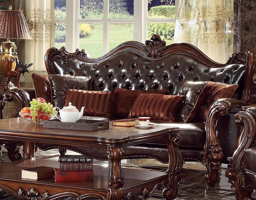Dark Brown Sofa w/ 7 Pillows