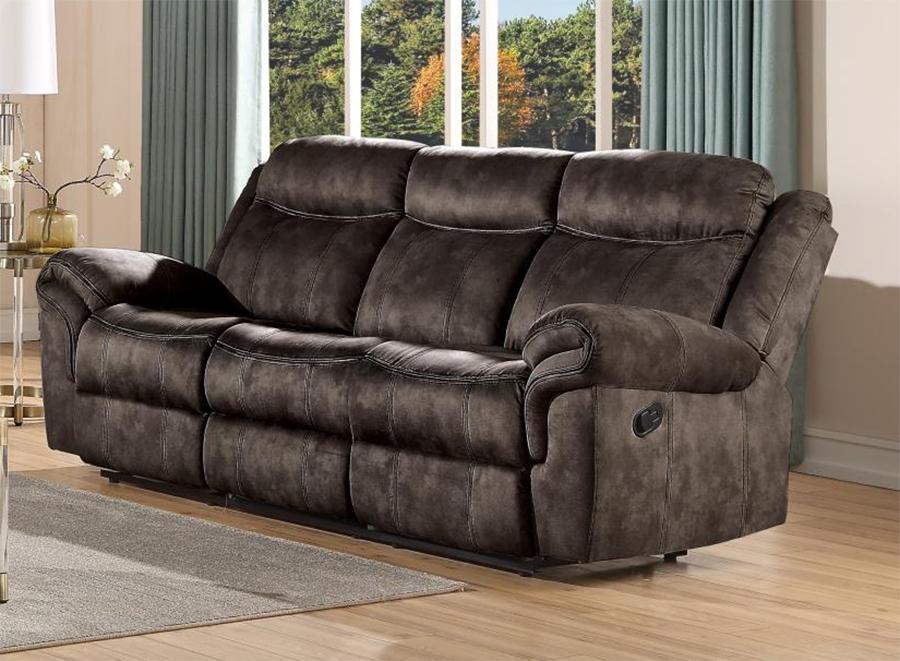 Two Tone Chocolate Reclining Sofa