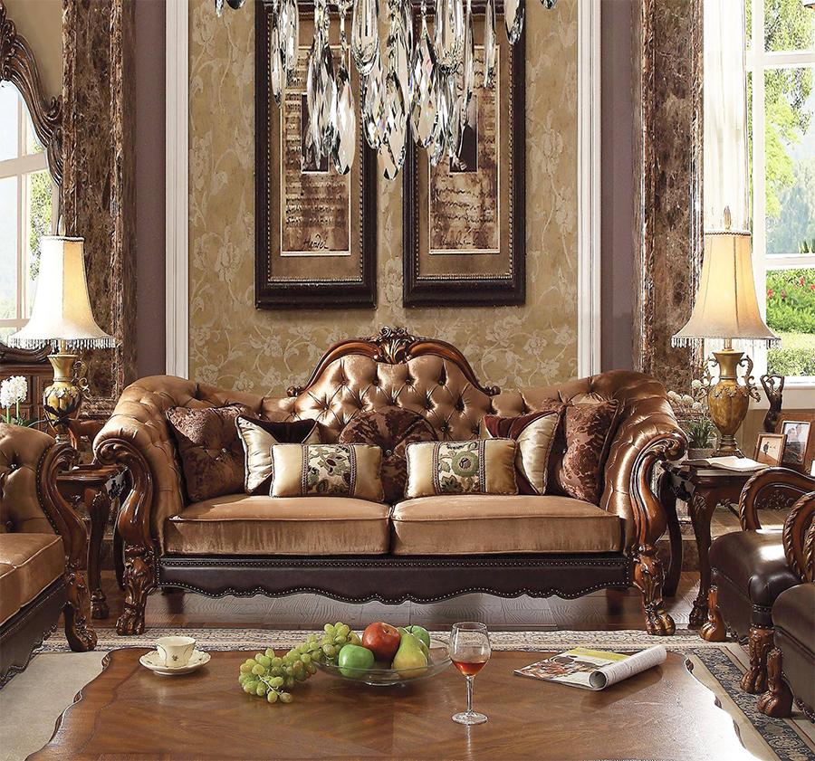 Golden Brown Velvet Sofa w/ 7 Pillows