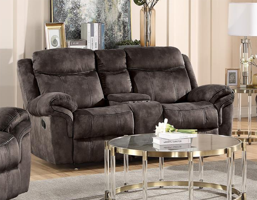 Two Tone Chocolate Reclining Loveseat