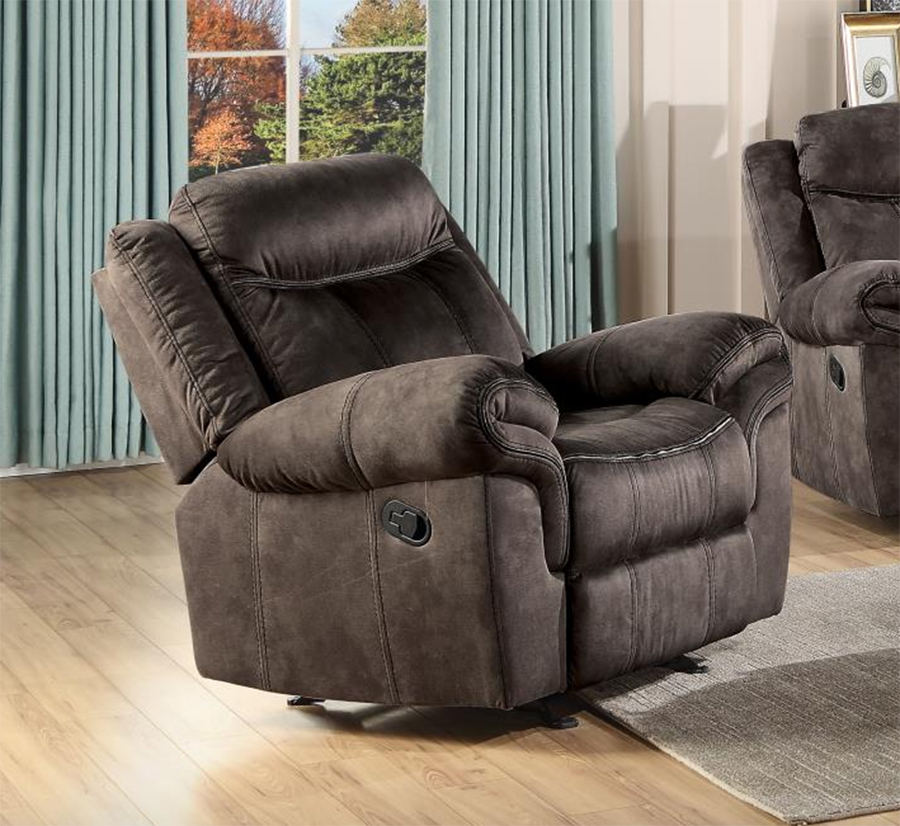 Two Tone Chocolate Glider Recliner